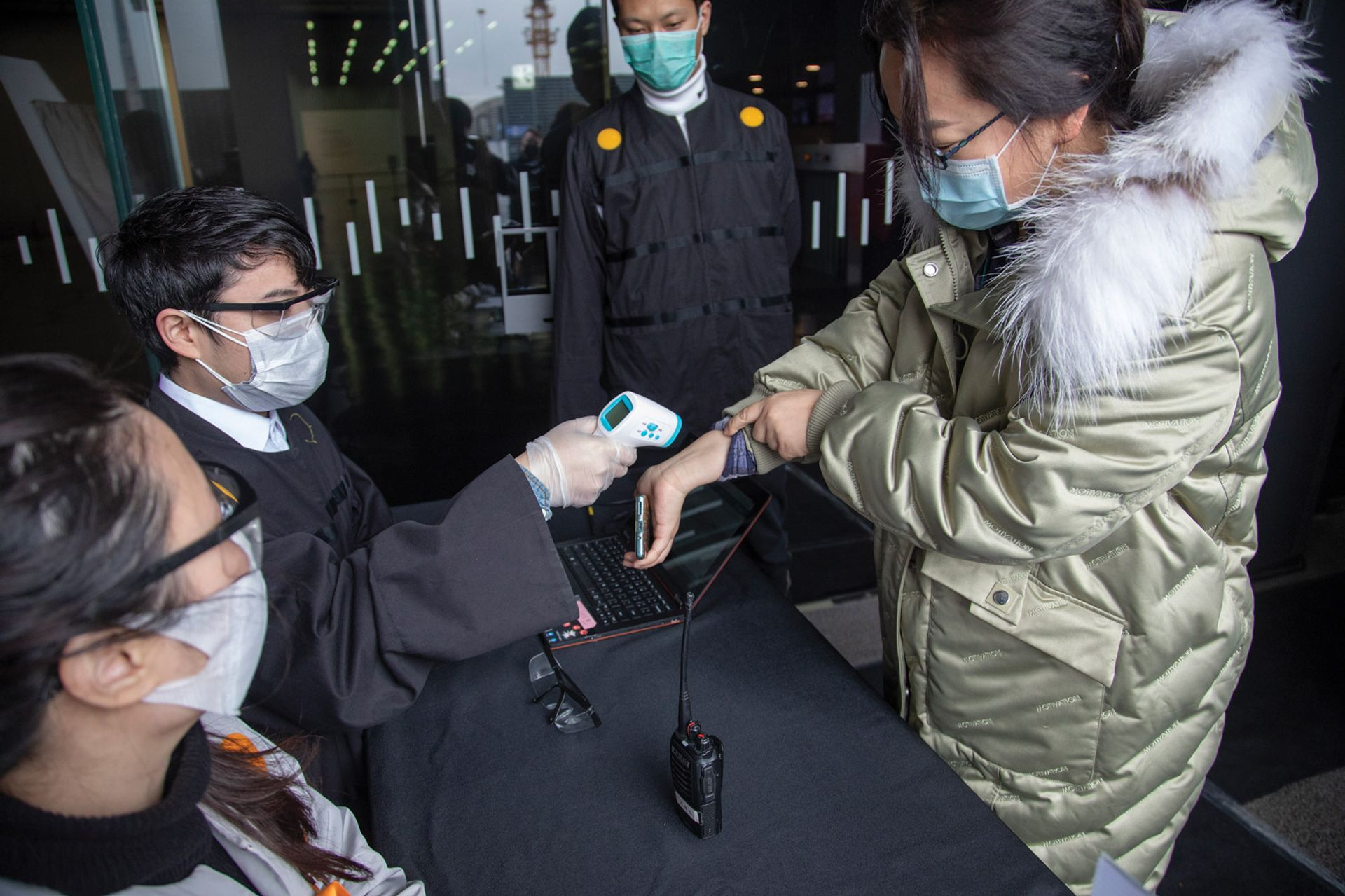 Shanghai is one of the few locations where some museums have reopened; staff at the city's Power Station of Art are checking visitors' temperatures and travel history at the entrance Courtesy of the Power Station of Art