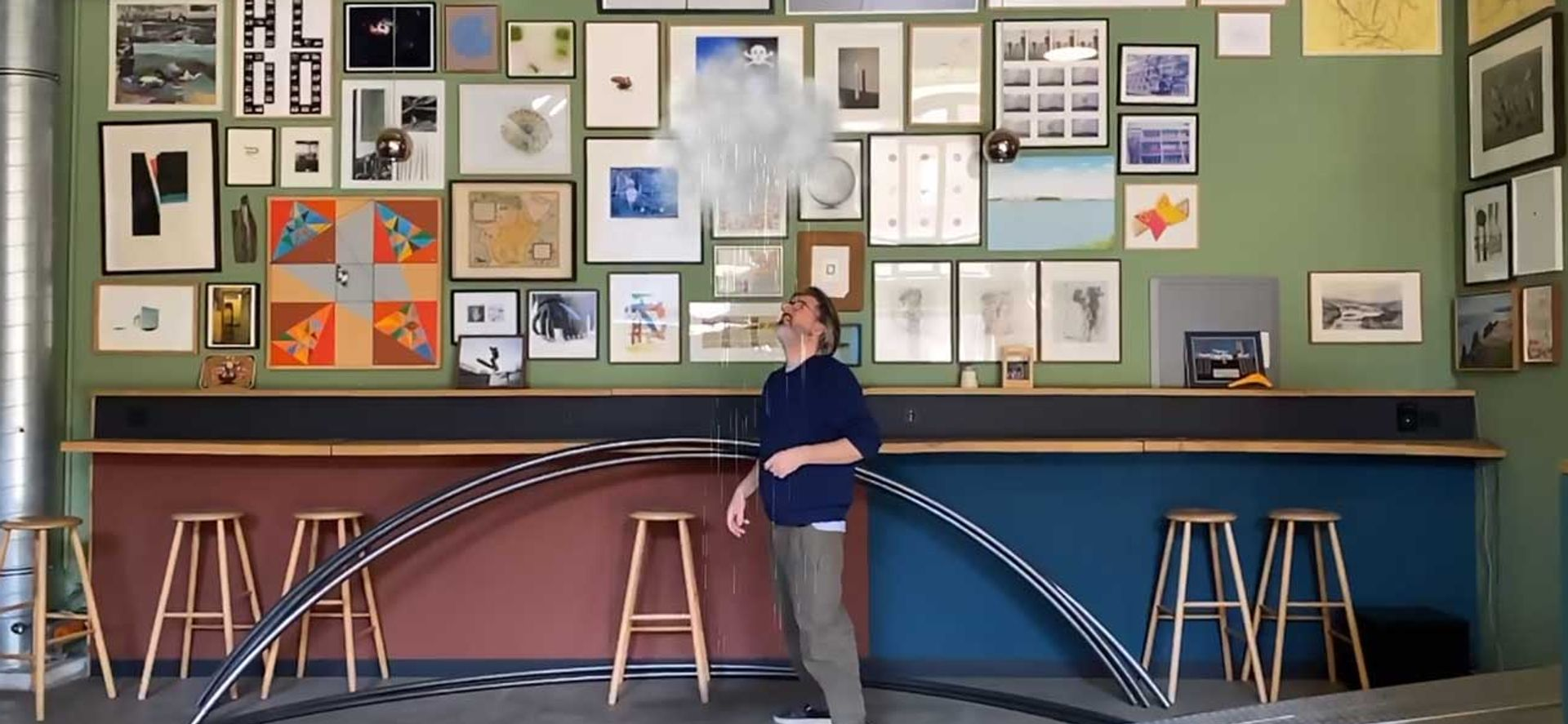 The artist Olafur Eliasson interacts with the cloud feature on his augmented reality app Wunderkammer Studio Olafur Eliasson