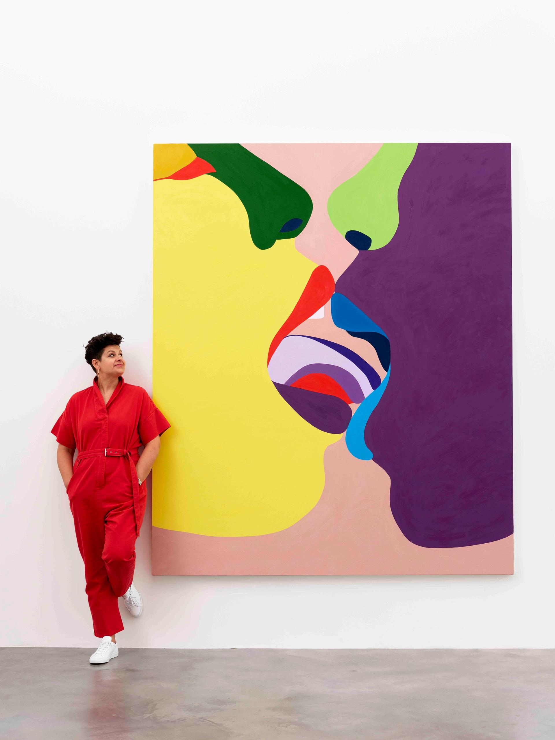 """Helen Beard with her work, Cyssan (2017), the Old English word for """"kissing"""" Newport Street Gallery"""