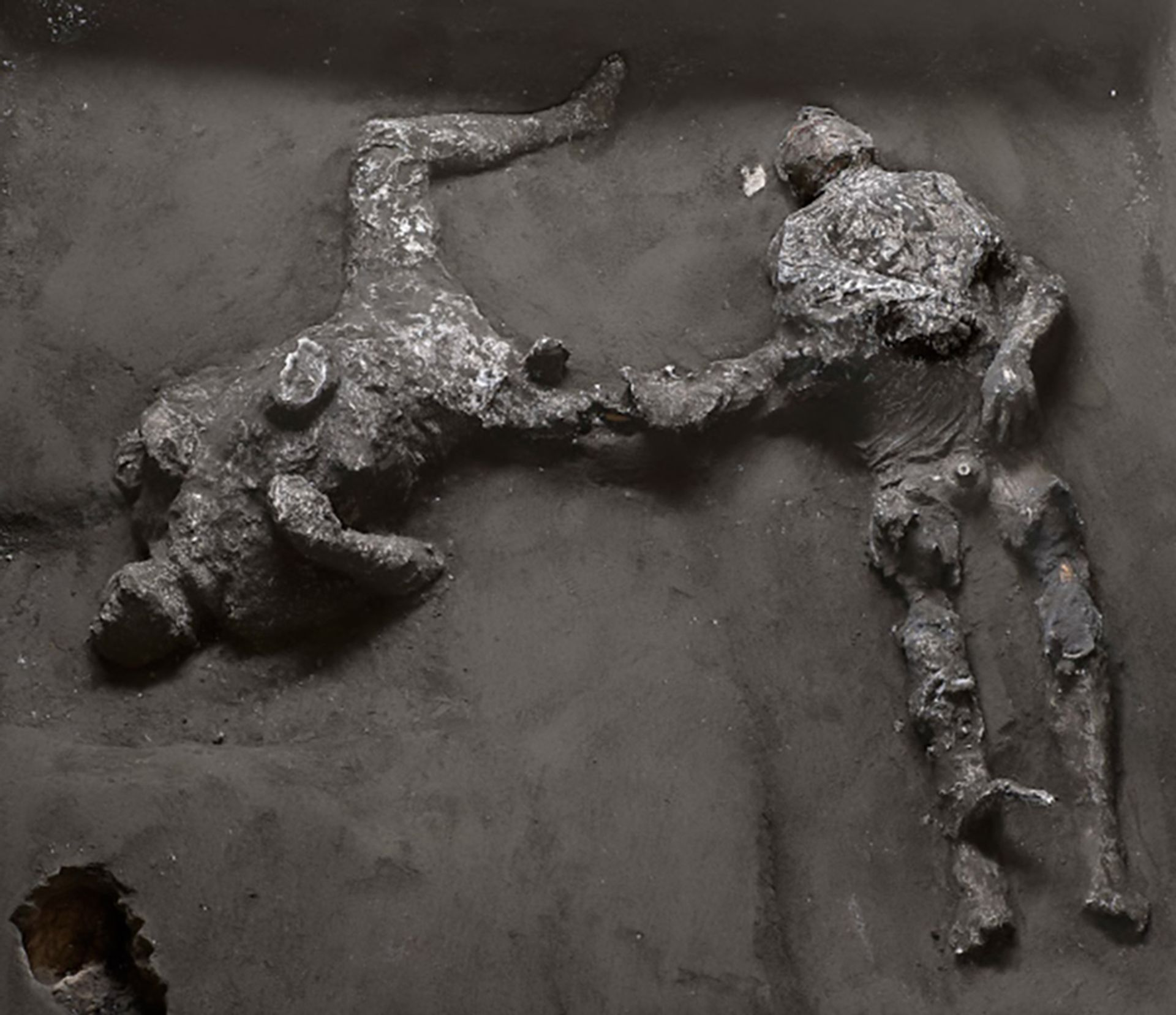 The men—who were were discovered during excavations at the Civita Giuliana, a suburban villa northwest of Pompeii—were identified as a wealthy landowner and his slave Courtesy of the Archaeological Park of Pompeii. Photo: Luigi Spina