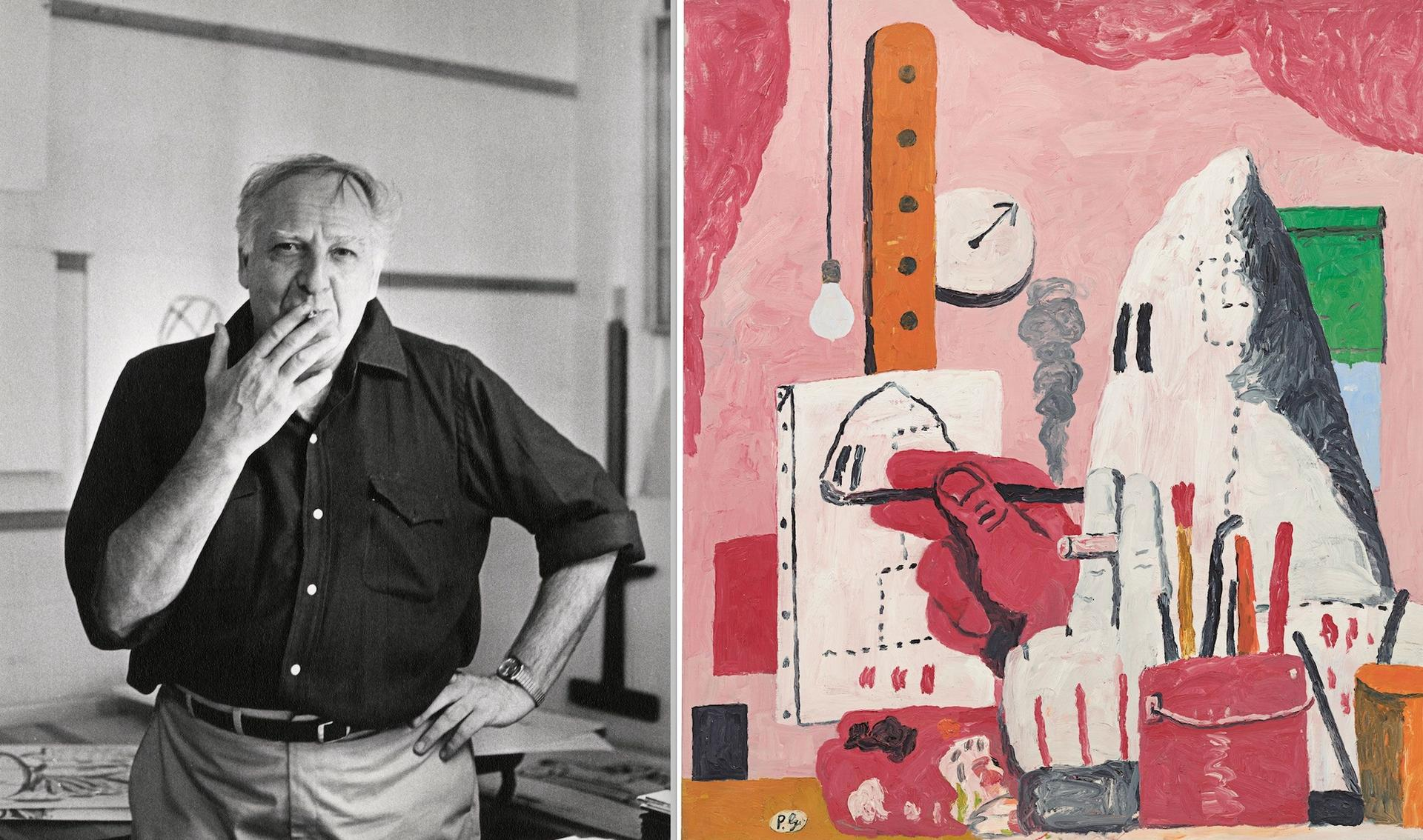 A major show on the late artist Philip Guston (left) has been delayed because of sensitivities around his KKK imagery (right, The Studio, 1969) Guston portrait: Photo: Frank R. Lloyd. The Studio: © The Estate of Philip Guston