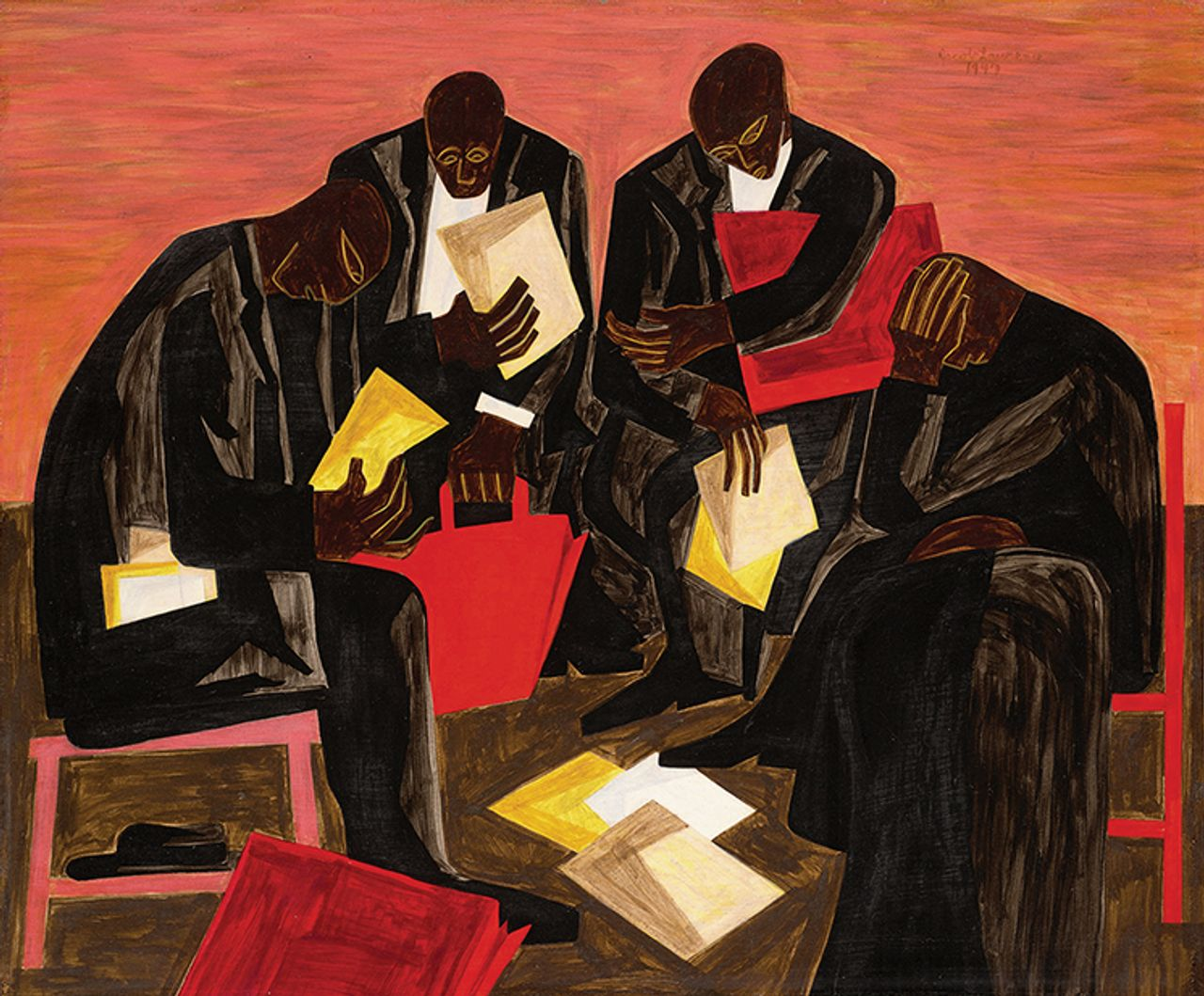 Jacob Lawrence's The Businessmen, (1947) Courtesy of Sotheby's