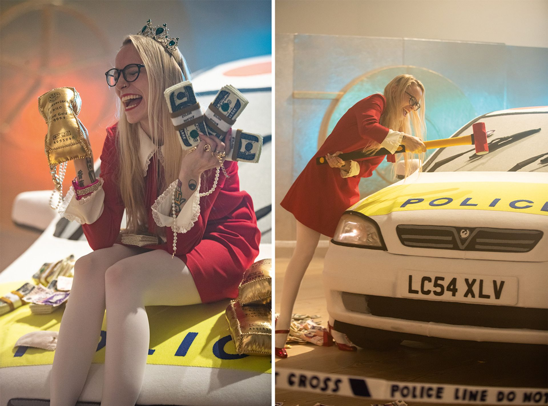 Fair cop: artist Lucy Sparrow with her installation of a heist, with cash, stolen art and a police car made from felt Courtesy of DK Photos