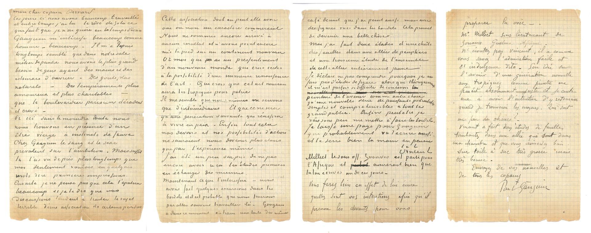 Letter from Vincent van Gogh and Paul Gauguin to Emile Bernard, Arles, 1-2 November 1888 Courtesy of Drouot Estimations, Paris