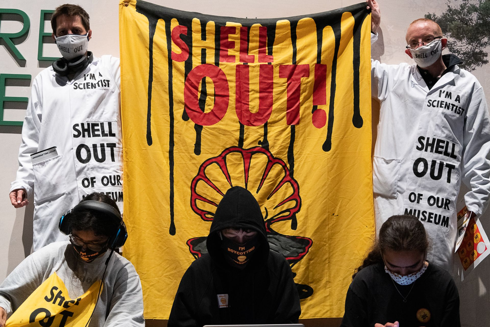 A group of youth climate activists staged a protest against the oil company Shell at the Science Museum in South Kensington, London, last weekend Photo: Ron Fassbender
