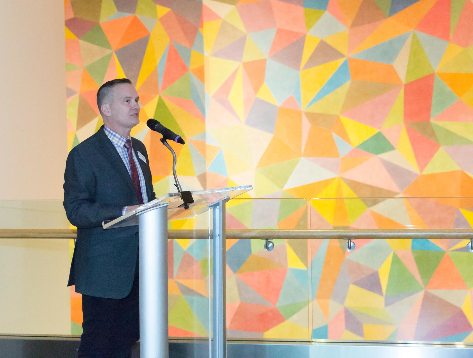 Charles Venable speaks at the opening of the Indianapolis Museum of Art's 2016 exhibition A Joy Forever: Marie Webster Quilts Photo: Tascha Horowitz