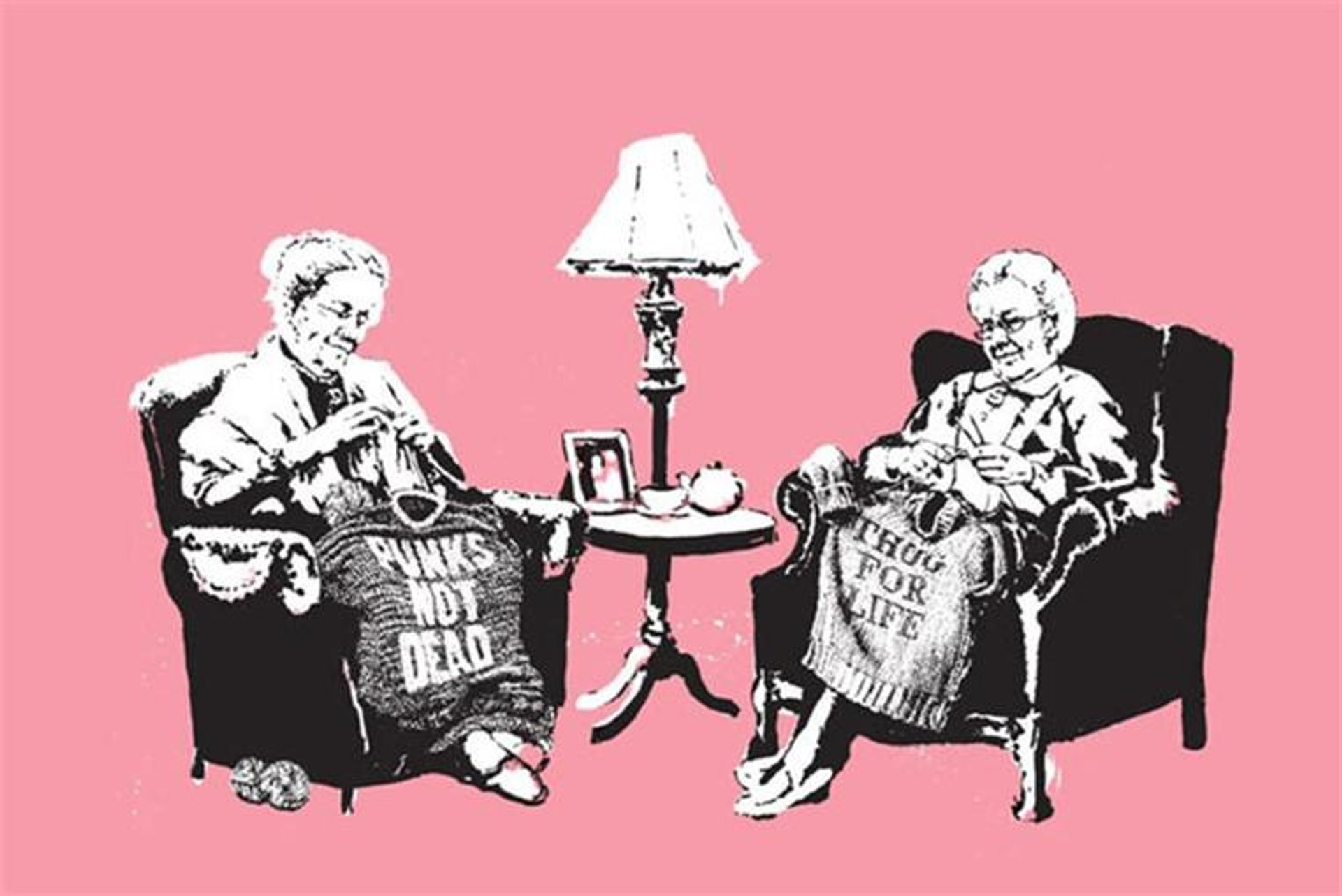 Banksy's Grannies painting was first shown in his Barely Legal show in Los Angeles in 2006 alongside 100 limited edition prints