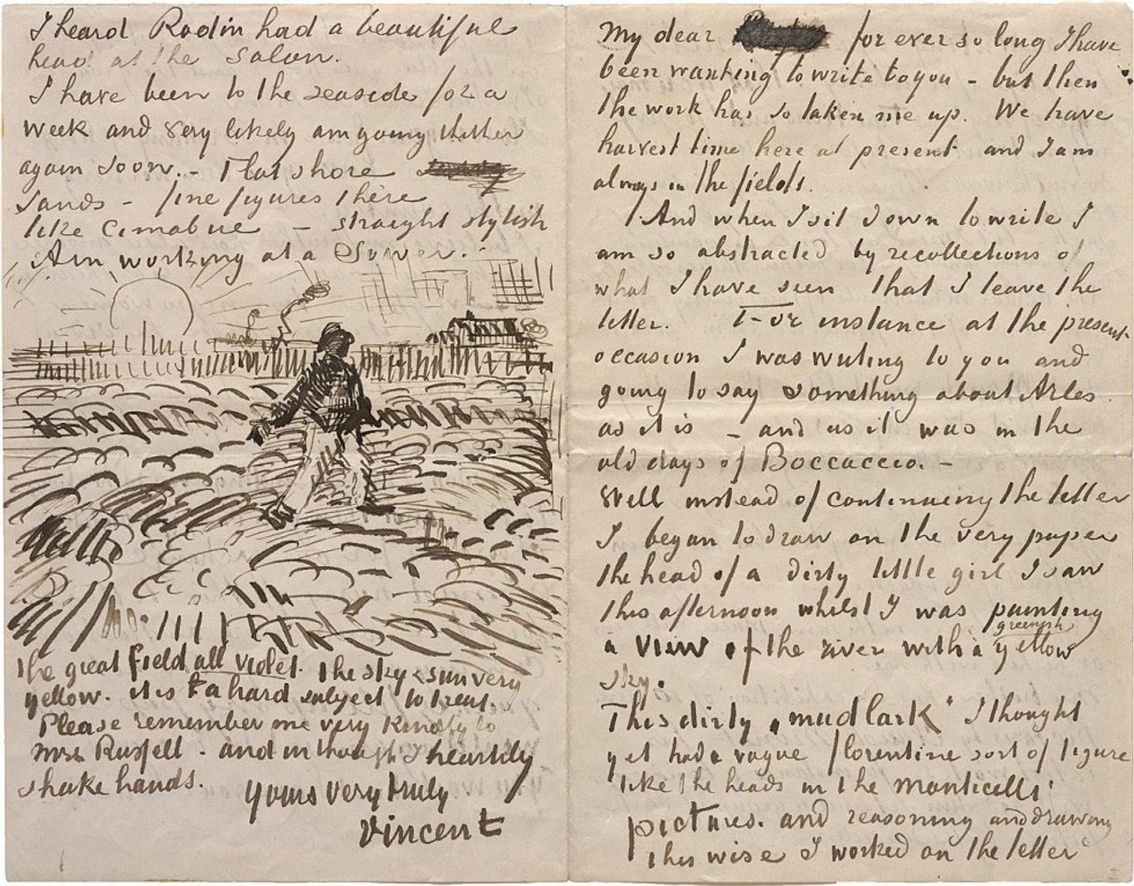 Letter in English from Vincent van Gogh to John Peter Russell, about 17 June 1888, Arles (letter 627) Solomon R. Guggenheim Museum, New York, Thannhauser Collection, Gift, Justin K. Thannhauser, 1978