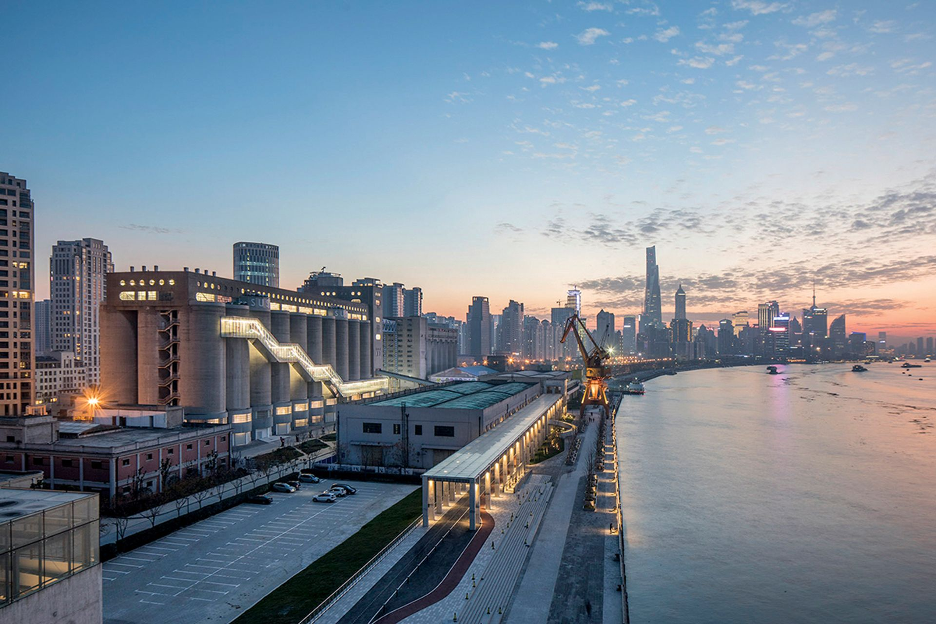 A huge converted grain silo on the Huangpu river hosted a festival of art and urban planning late last year Atelier Deshaus