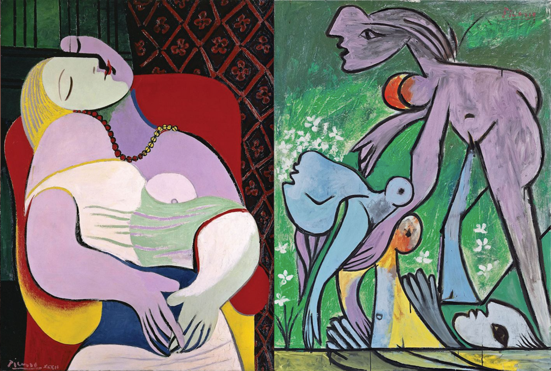 Pablo Picasso's Le Rêve (The Dream) and The Rescue (Le sauvetage) (both 1932) Private Collection and Fondation Beyeler, Riehen/Basel. Both Succession Picasso/DACS London, 2017
