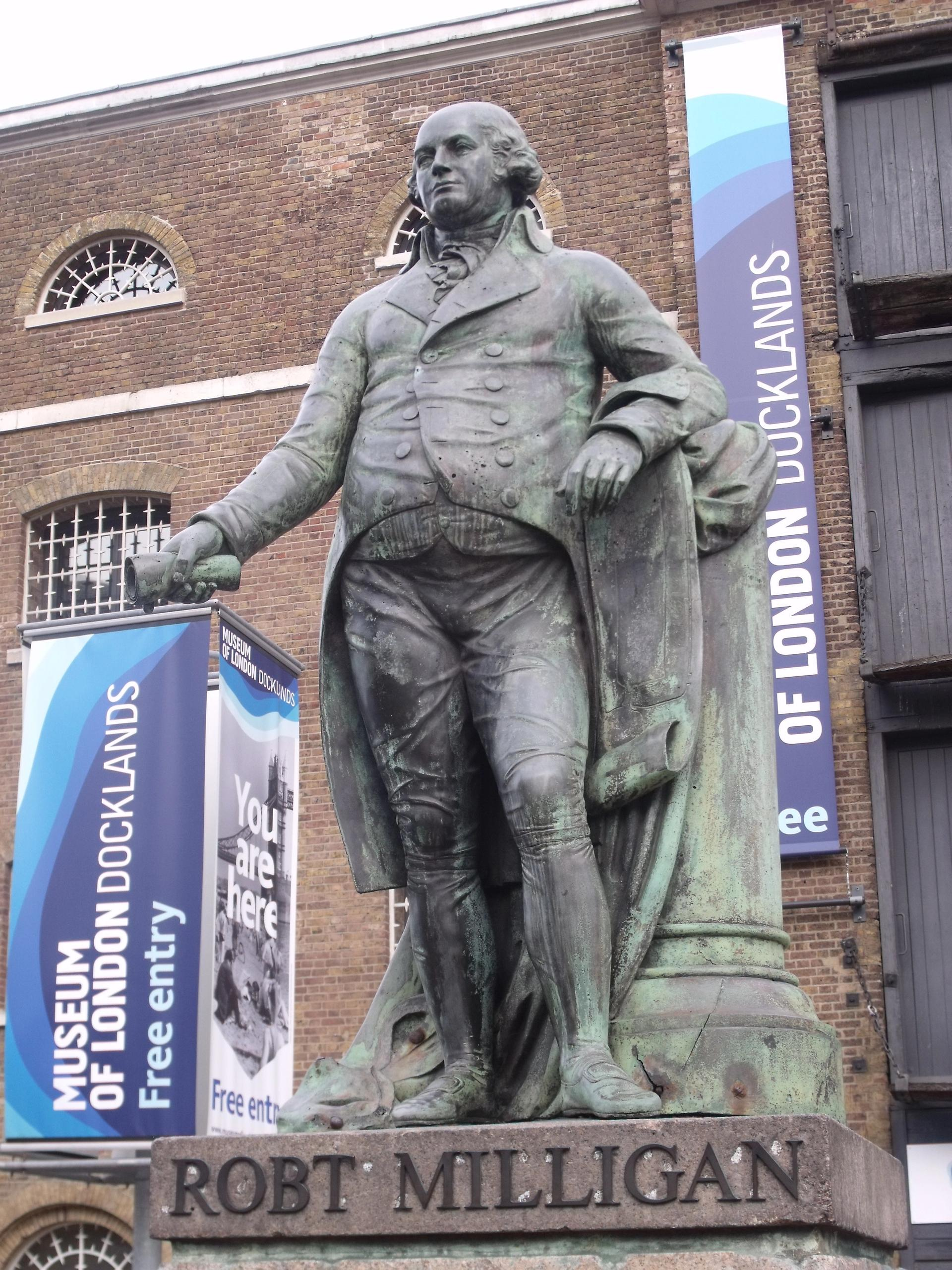 A statue of the 18th-century slave trader Robert Milligan by Richard Westmacott in east London has prompted a petition for its removal