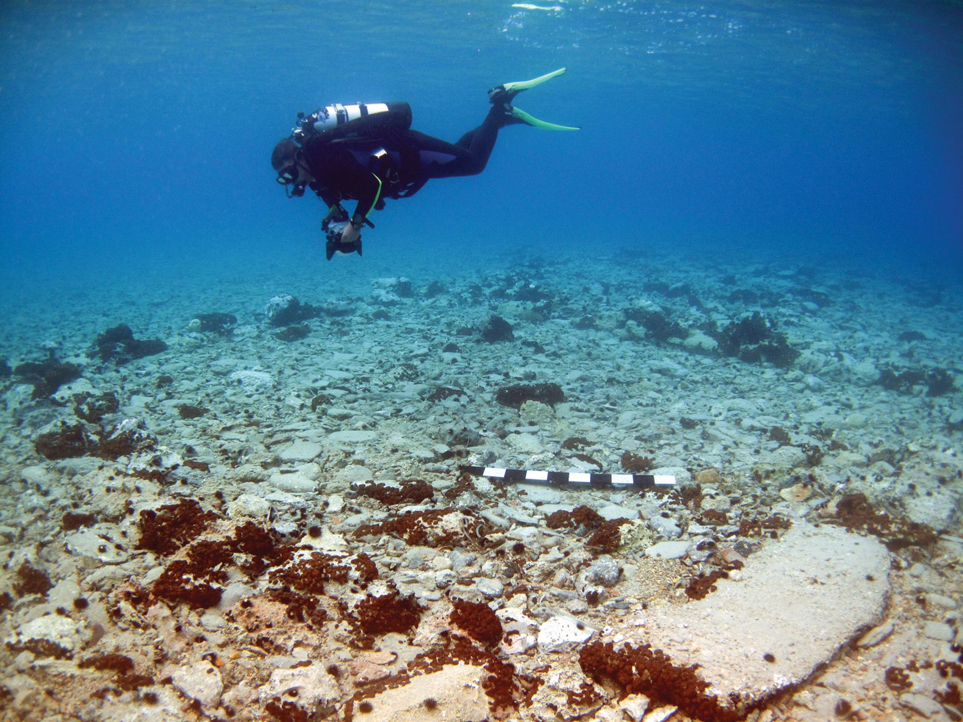 The prehistoric settlement of Pavlopetri, one of the world's oldest submerged cities, will have underwater information panels and buoys on the sea surface to guide divers and bathers around the ruins Courtesy of the Hellenic Ministry of Culture and Sports/Ephorate of Underwater Antiquities