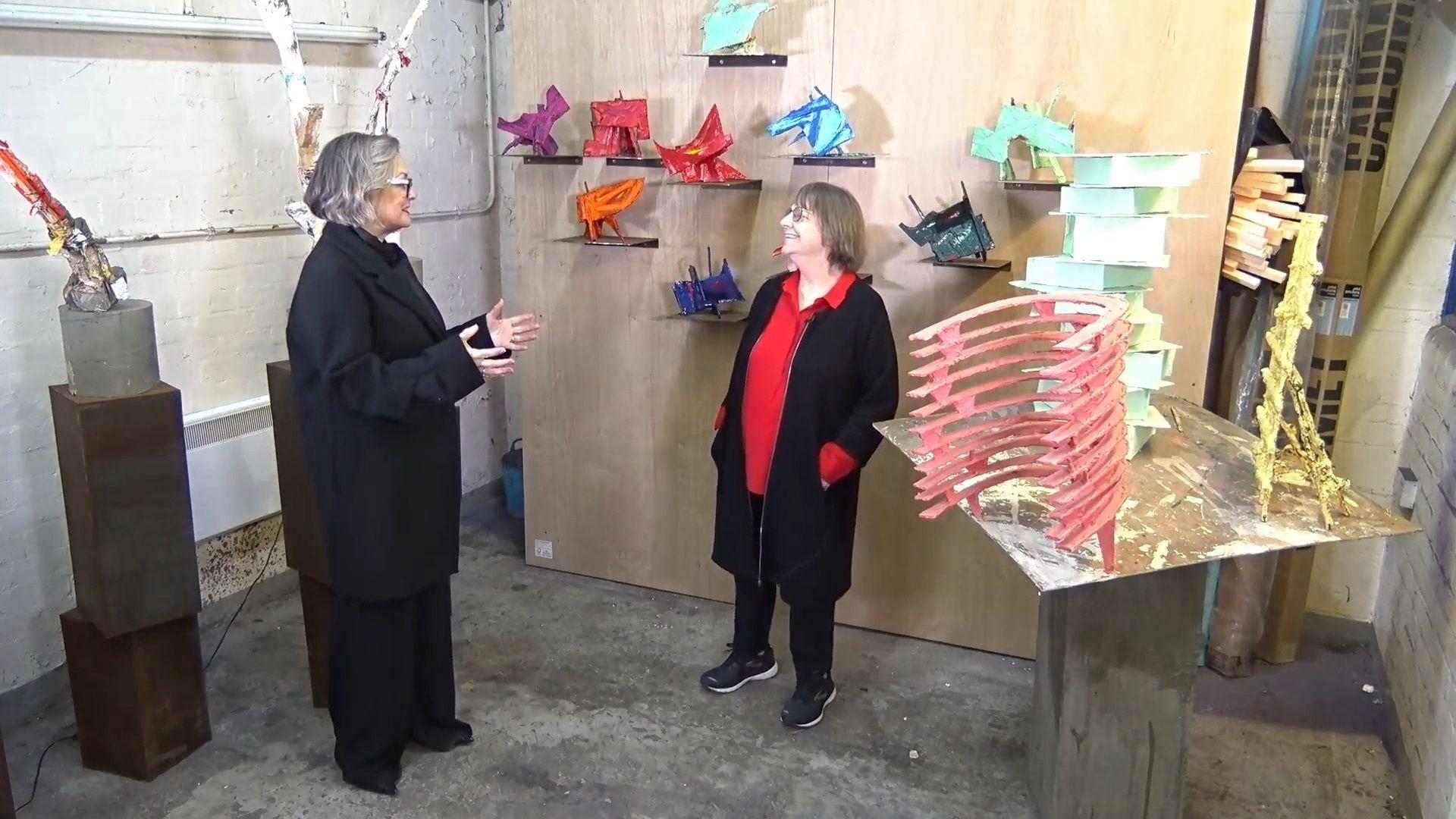 Phyllida Barlow (right) in conversation with CAS director Caroline Douglas