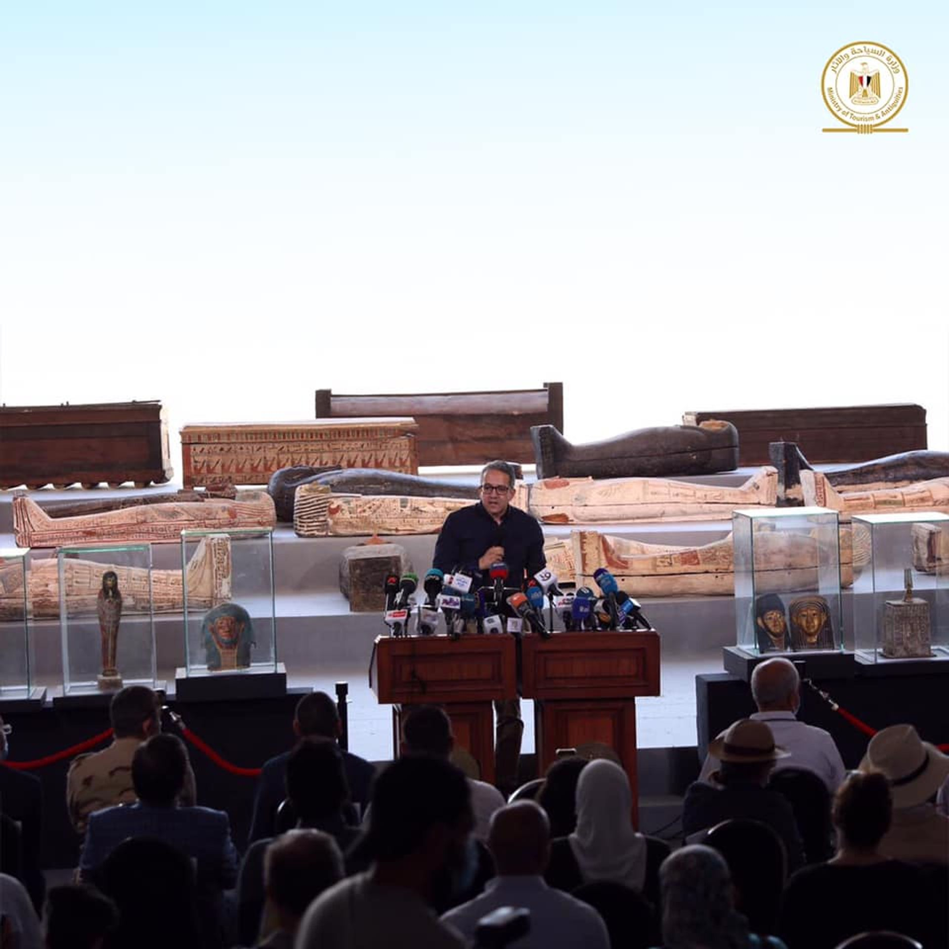 The discovery was announced at a press conference last week © Ministry of Tourism and Antiquities, Egypt