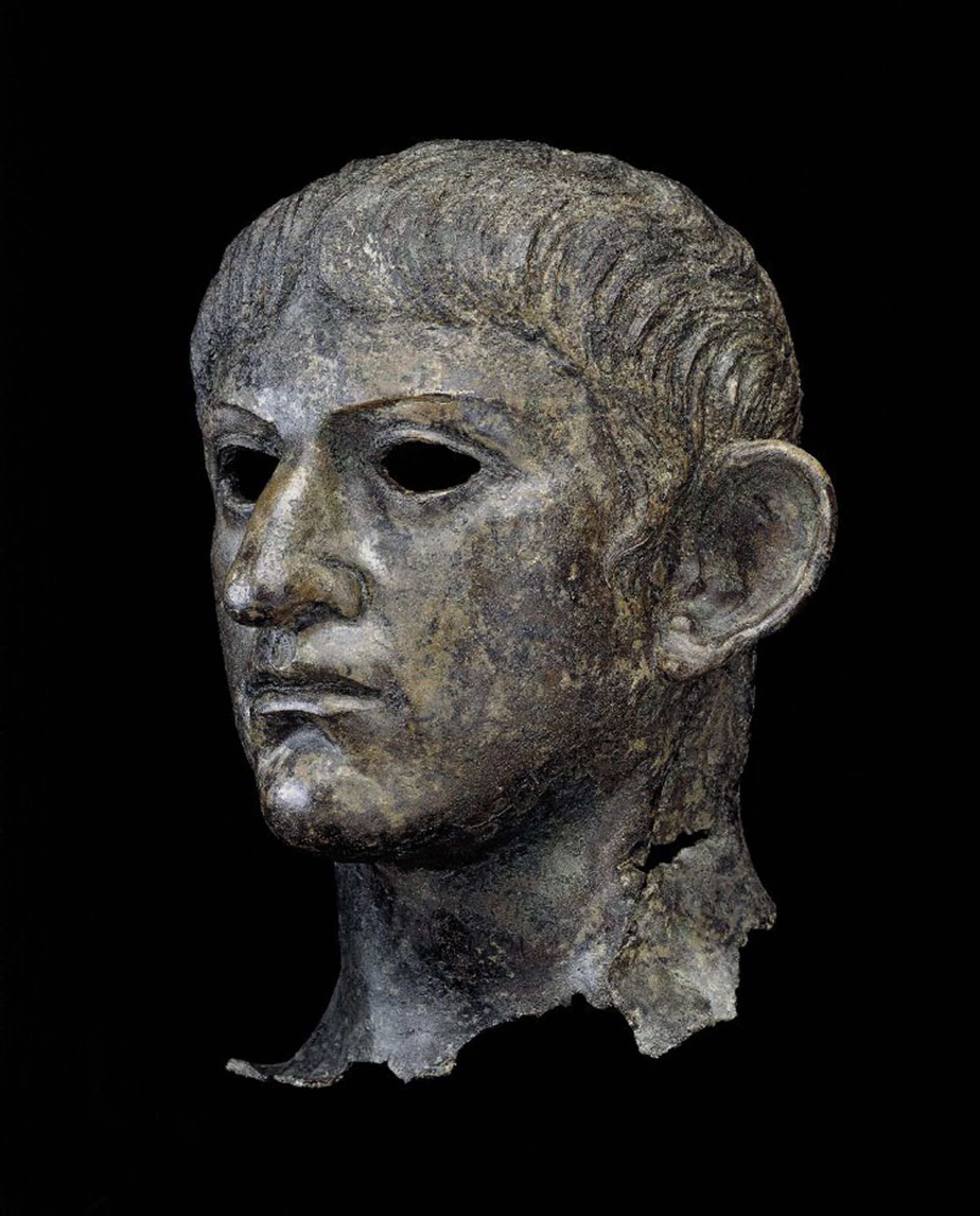 Head from a copper statue of the Roman emperor Nero (around 1st century AD) © The Trustees of the British Museum