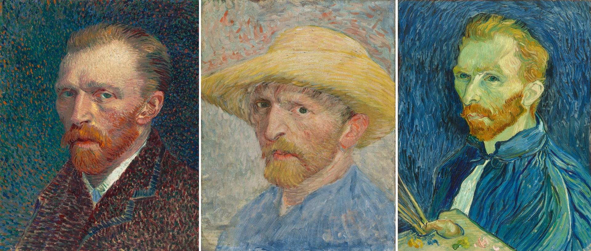 Three of Van Gogh's self-portraits: 1887, 1887 and 1889 Courtesy of Art Institute of Chicago (Creative Commons Zero); Detroit Institute of Arts (Bridgeman Images); and National Gallery of Art, Washington, DC