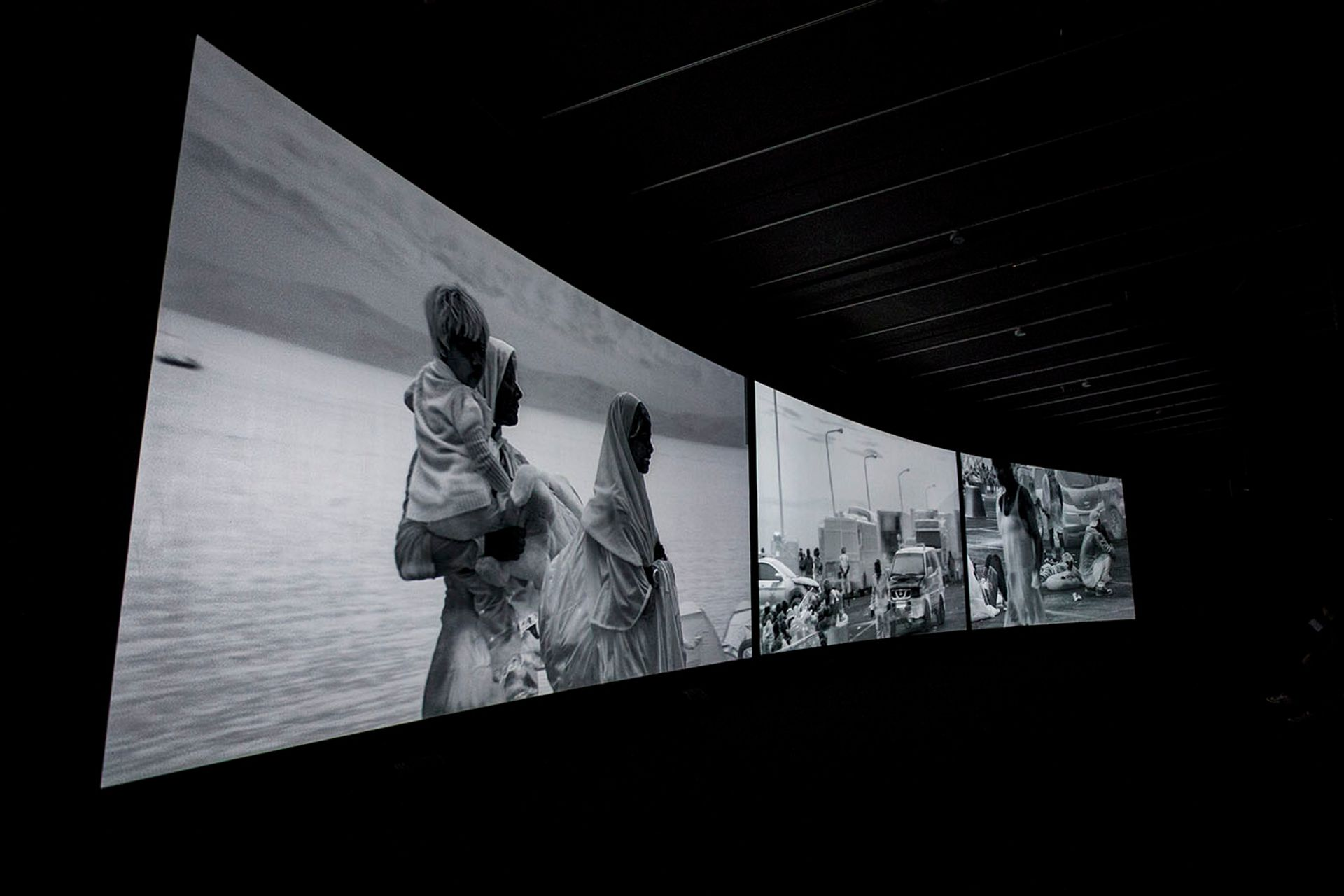 Richard Mosse's Incoming (2014-17), a surround sound video, is part of the exhibition When Home Won't Let You Stay at the Institute for Contemporary Art, Boston Courtesy of the artist and Jack Shainman Gallery, New York