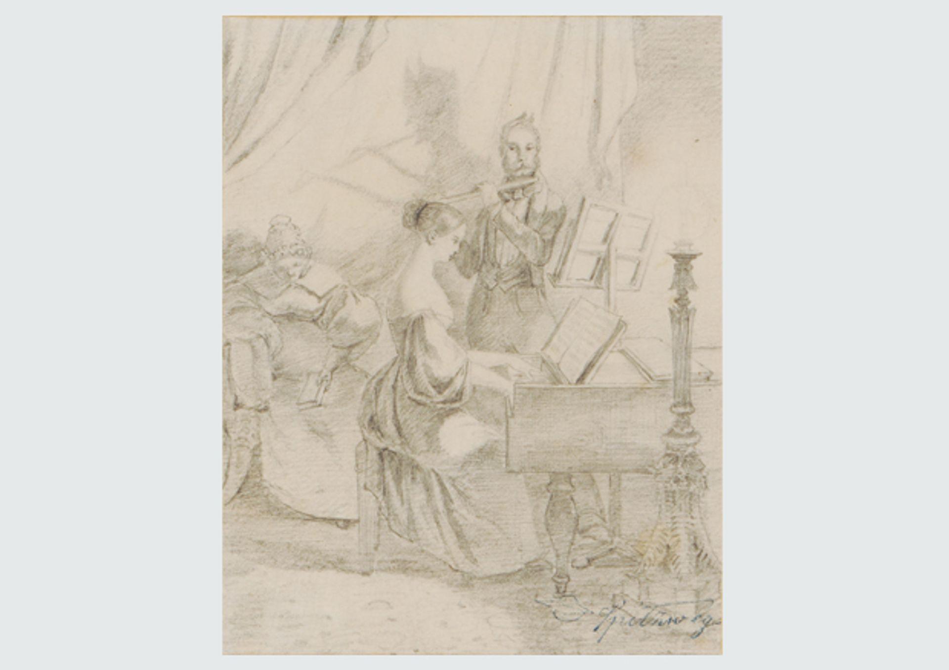 Carl Spitzweg's drawing Das Klavierspiel (1840)