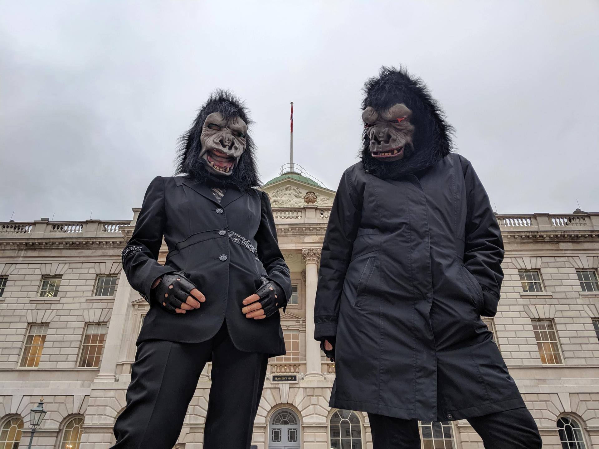 Guerrilla Girls on a site visit at Somerset House, London, in January 2020 for Art Night Photo: Cathy Buckmaster; courtesy of the artists and Art Night