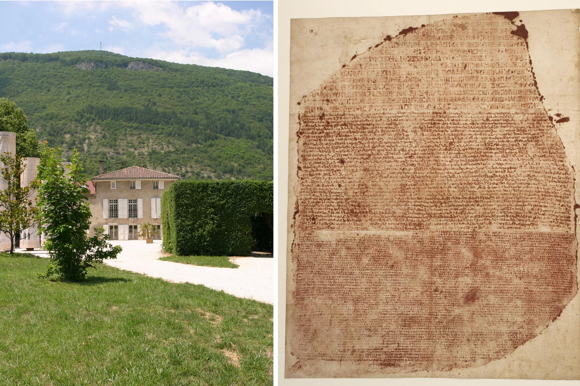 Left: Musée Champollion in Vif; right: a print of the Rosetta Stone (early 19th century) from the museum's collection Photos: © Département de l'Isère / Musée Champollion
