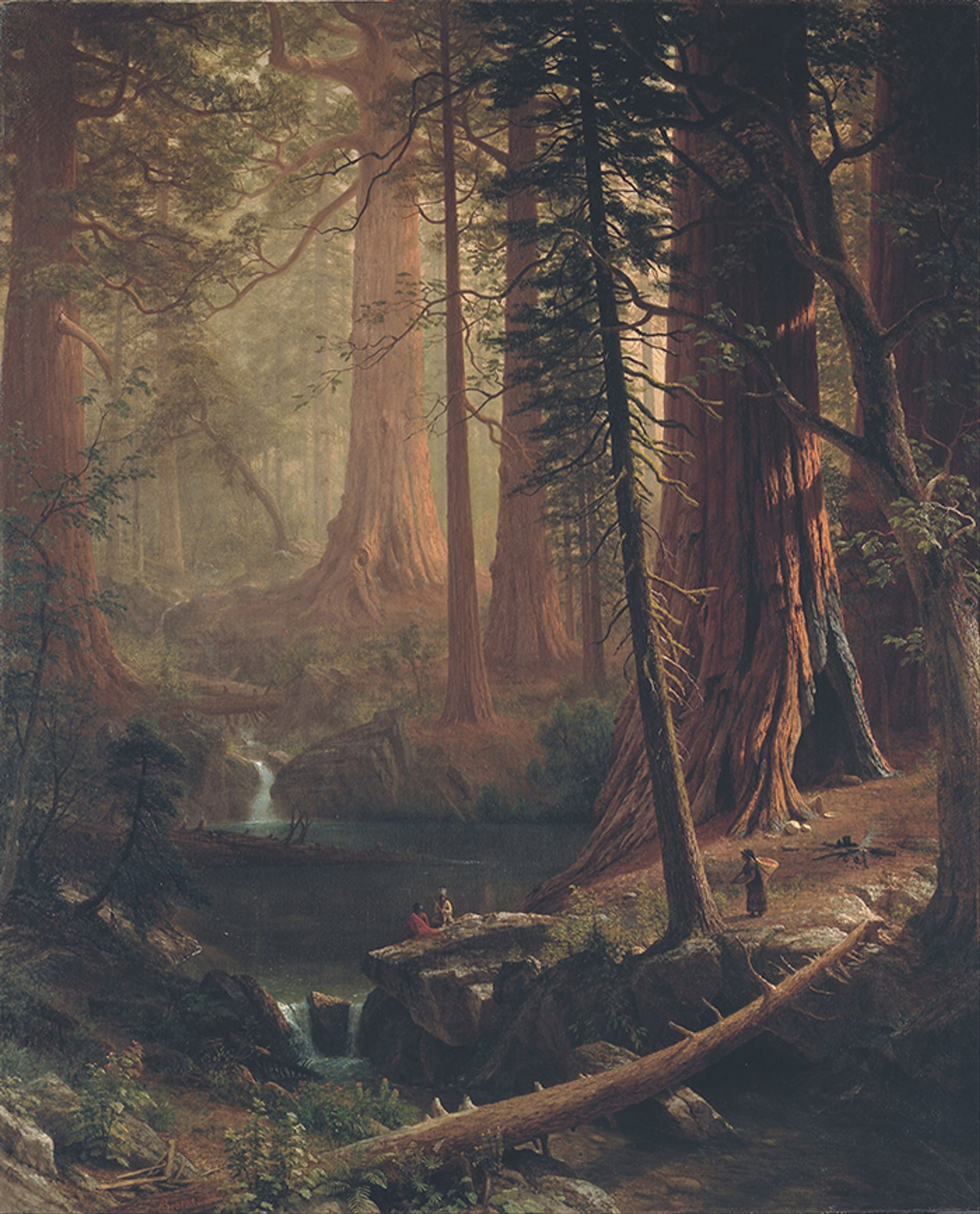 Giant Redwood Trees of California (1874) by Albert Bierstadt is one of the nine works The Berkshire Museum will sell off in the coming months Wikimedia Commons