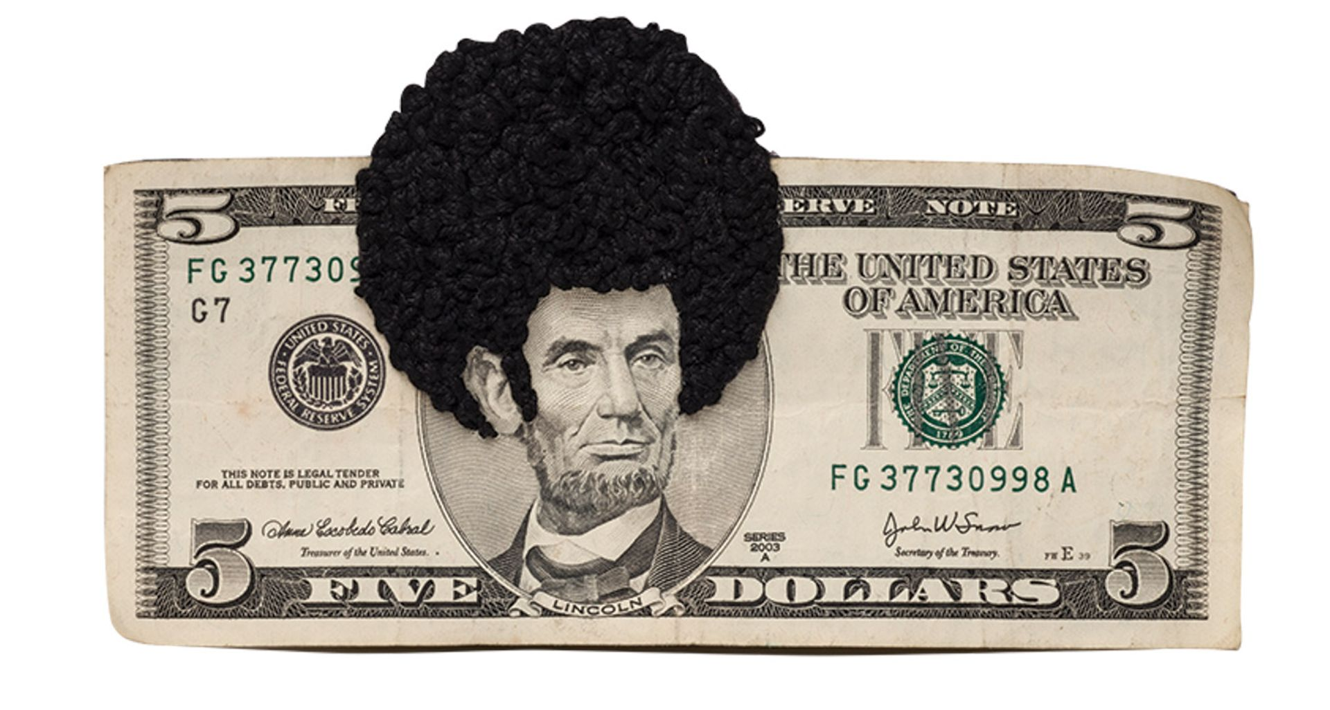 A new take on the Great Emancipator: Sonya Clark's Afro Abe II (2010) Photo: Lee Stalsworth, National Museum of Women in the Arts; © Sonya Clark