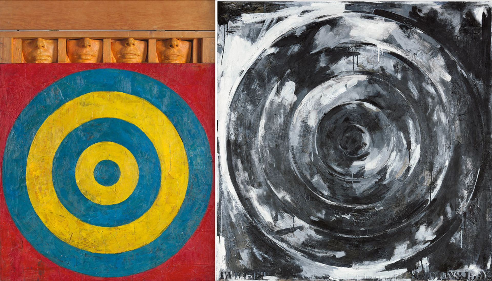 Jasper Johns's Target with Four Faces (1955) will be on show at the Whitney Museum while Target (1992) will be on display at the Philadelphia Museum of Art © 2021 Jasper Johns/VAGA at ARS, NY