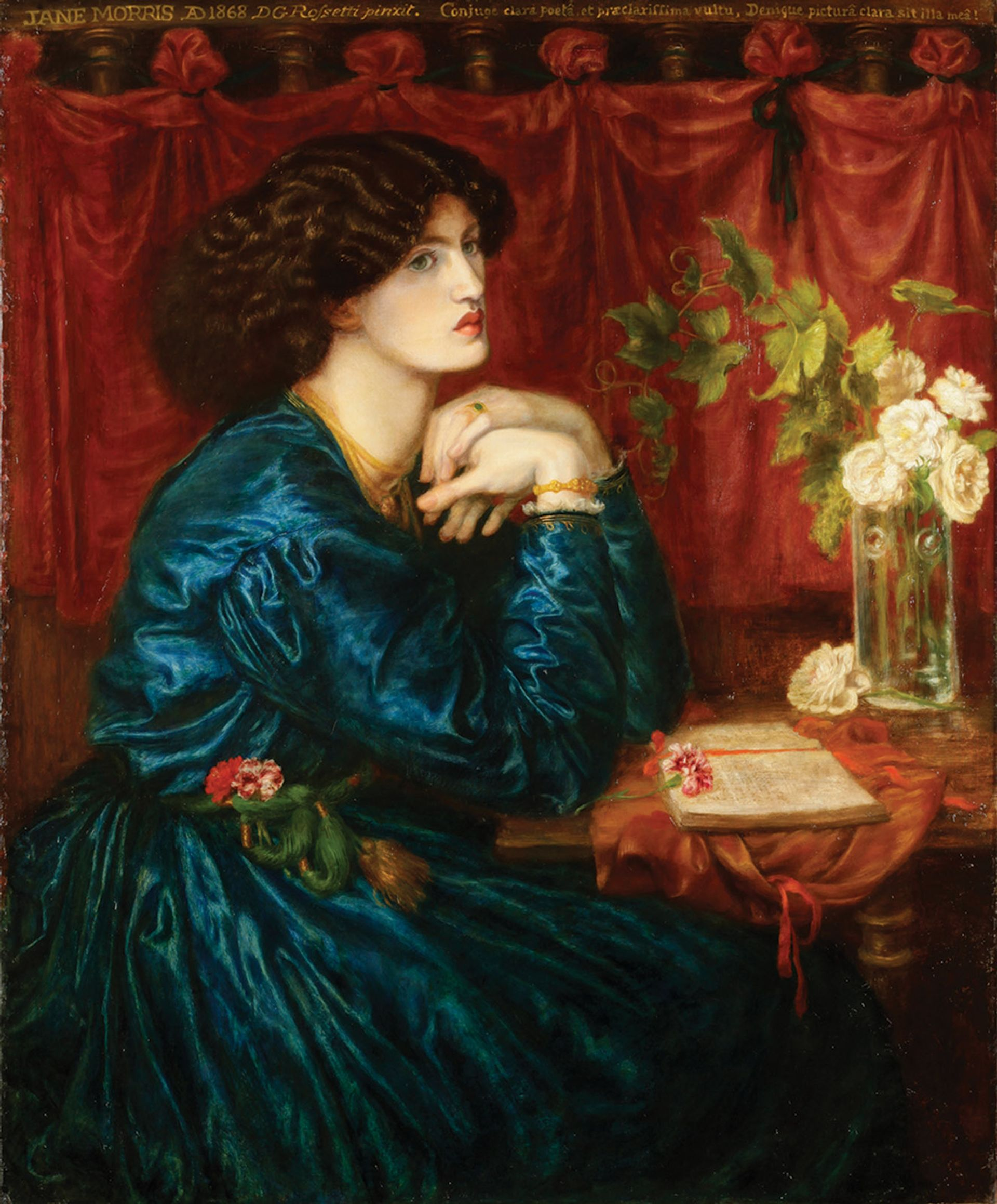Rossetti's 1868 painting Blue Silk Dress (Jane Morris). The artist would later add the copper hair of his late wife to a painting of Morris as Proserpine, the queen of the underworld © Society of Antiquaries of London; Kelmscott Manor