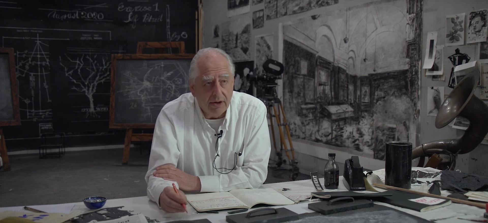 A still from William Kentridge's video explaining his new film City Deep (2020) Courtesy of Goodman Gallery