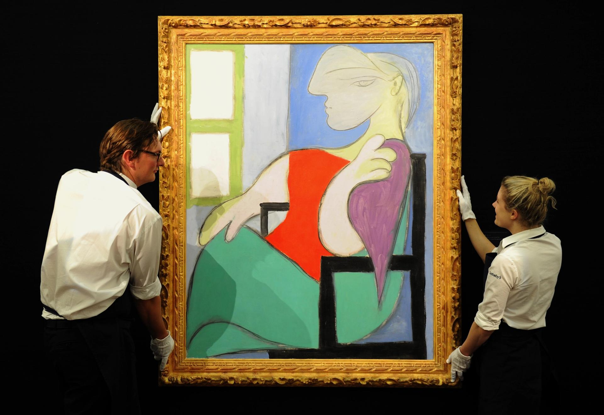 Picasso's Femme Assise Pres d'une Fenetre (Woman Sitting Near a Window) last came to auction in February 2013, when it sold for £28.6m ($44.8m) at Sotheby's London to a third-party guarantor Photo: Anthony Devlin/PA Wire