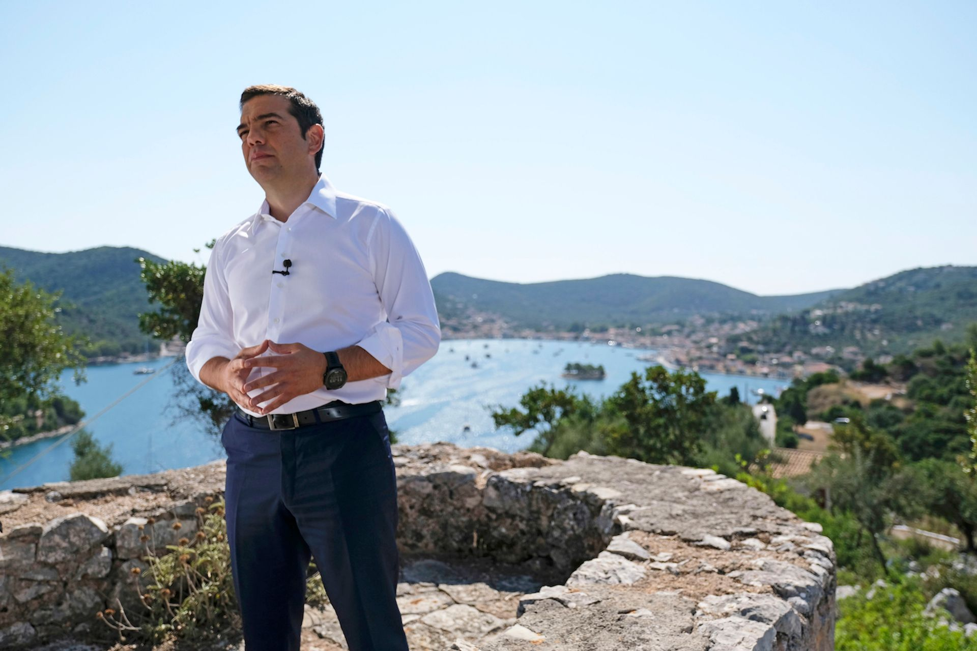 Prime Minister Alexis Tsipras stands on a hill in Ithaca overlooking the bay that the mythological hero Odysseus returned to after his ten-year voyage home Courtesy of the Greek government