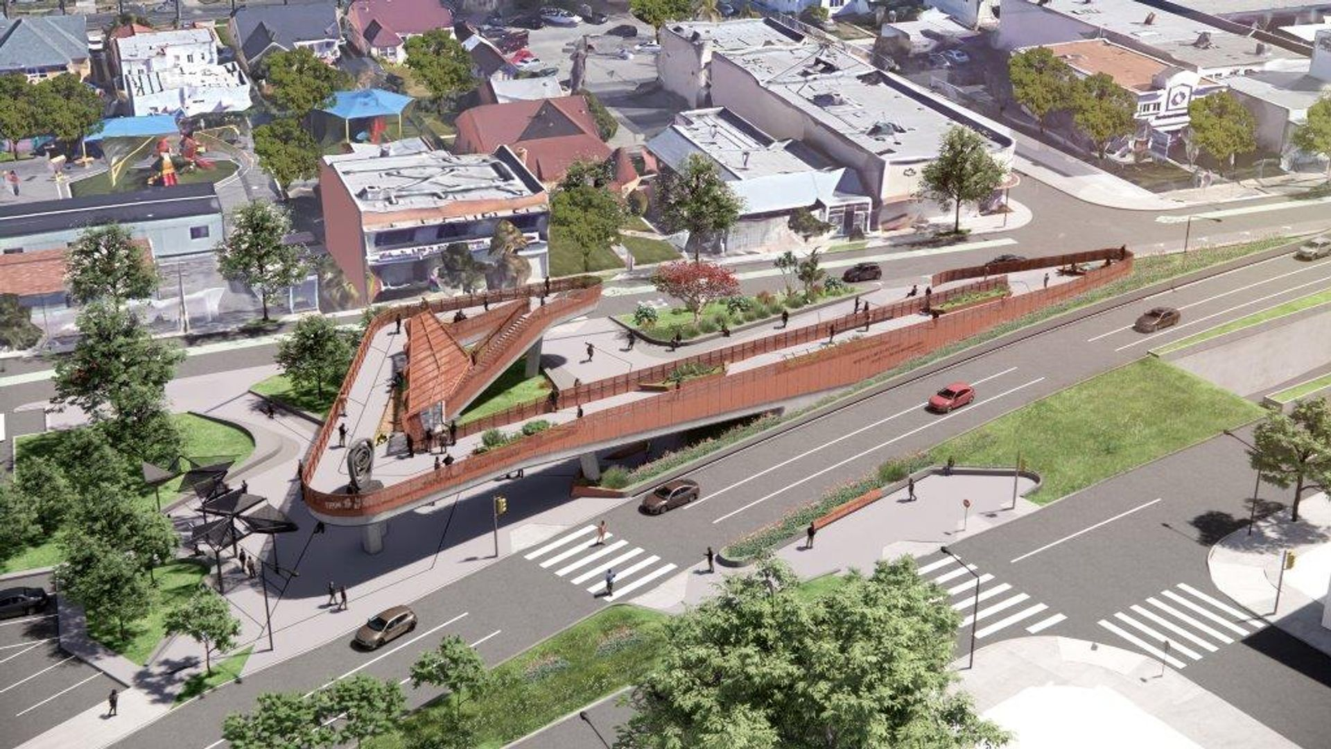 """A rendering of the planned Sankofa Park, the northernmost of 11 public """"pocket parks"""" to be created along the project's route, where the first new commissions will be installed Courtesy of Perkins & Will"""