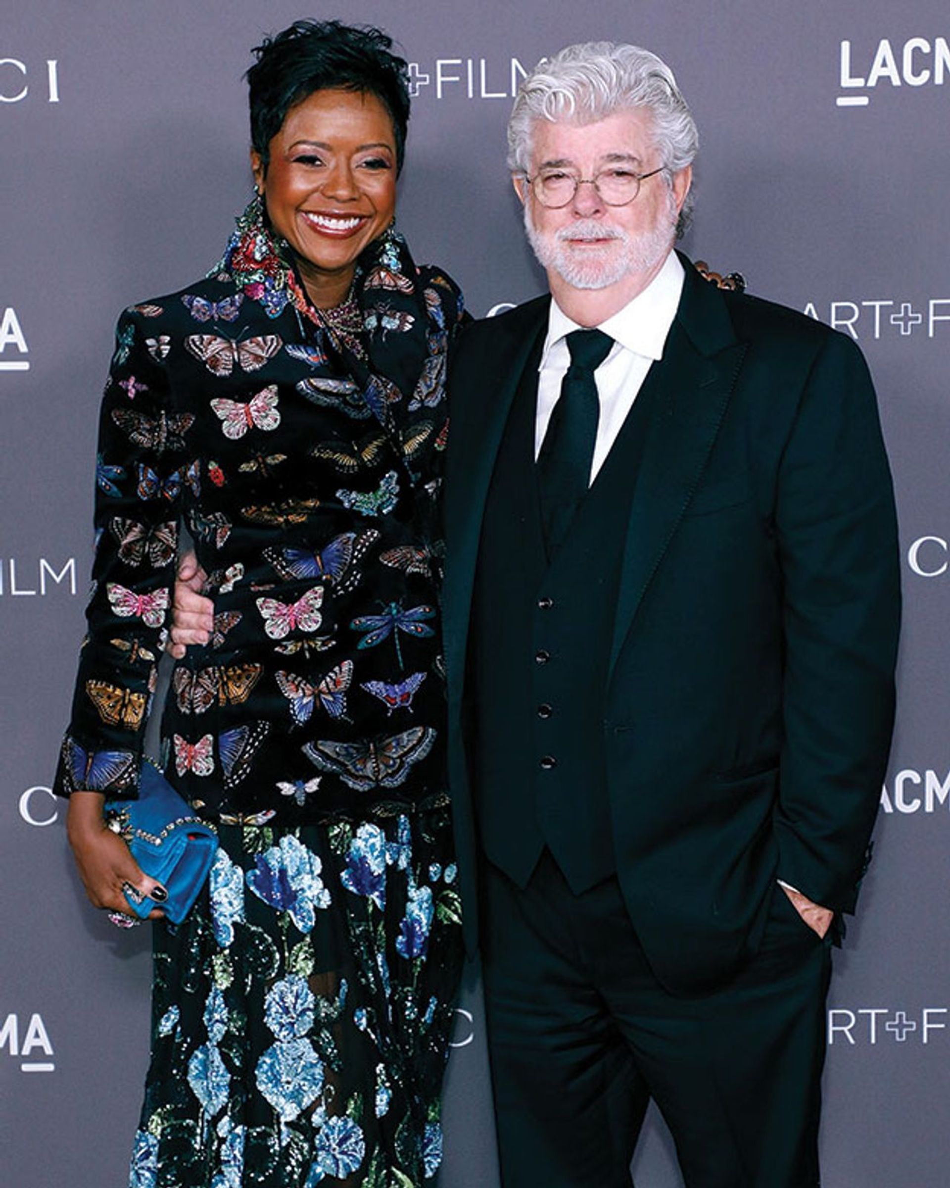 George Lucas and his wife Mellody Hobson, the founders of the new museum under construction in Exposition Park, south Los Angeles Photo: Taylor Hill/Getty Images