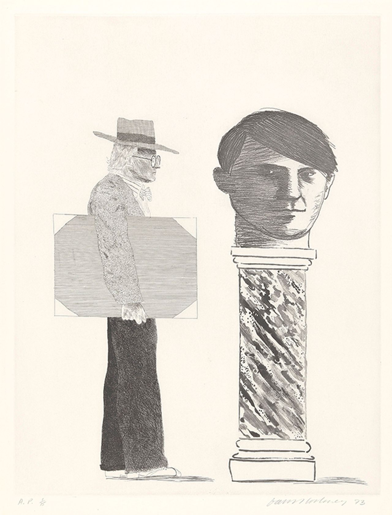 David Hockney's The Student: Homage to Picasso (1973) © David Hockney Collection The David Hockney Foundation