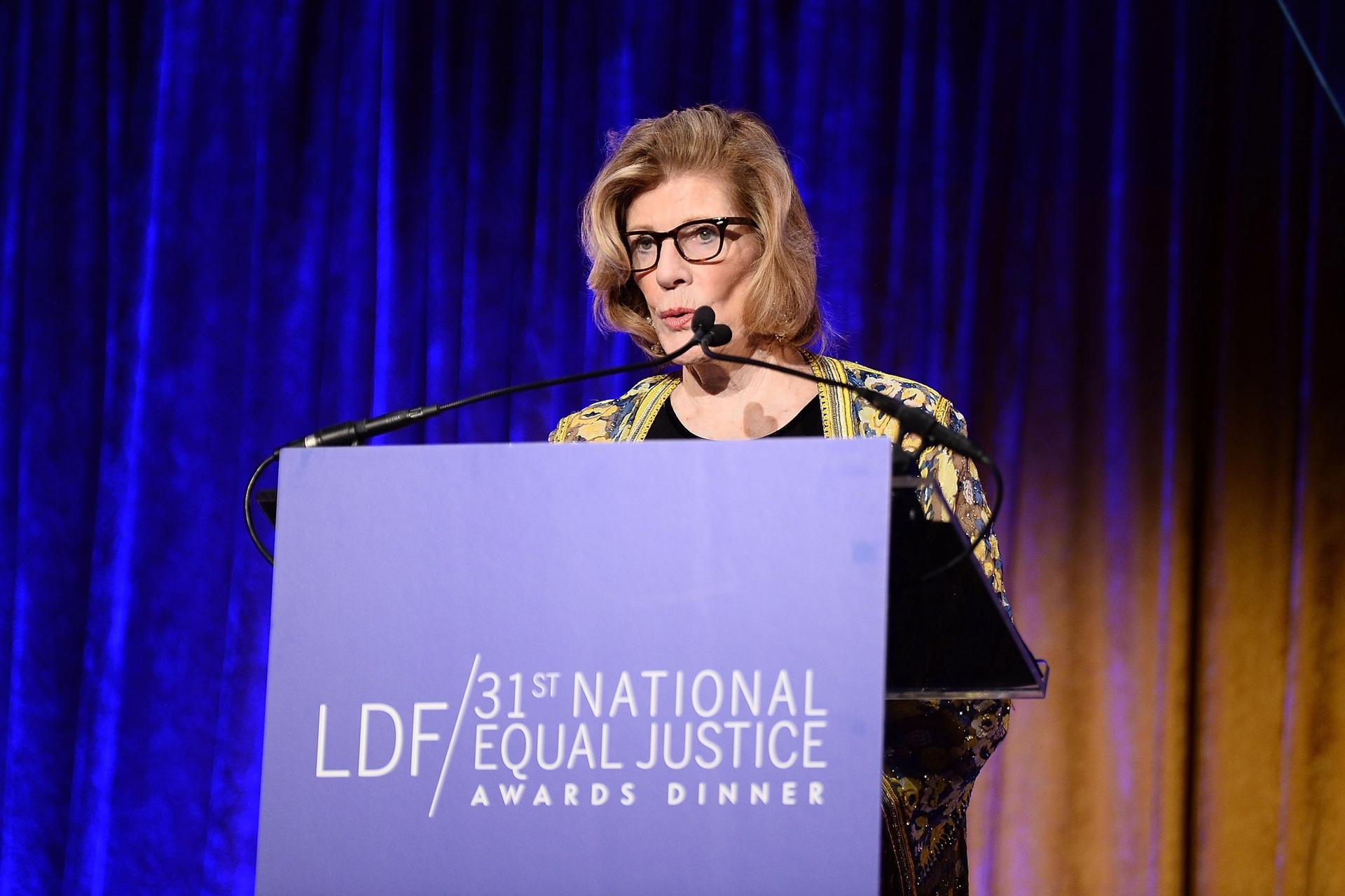 Agnes Gund speaking at the NAACP Legal Defense and Educational Fund's National Equal Justice Awards Dinner in November 2017 Photo: Dave Kotinsky/Getty Images for NAACP Legal Defense and Educational Fund, Inc