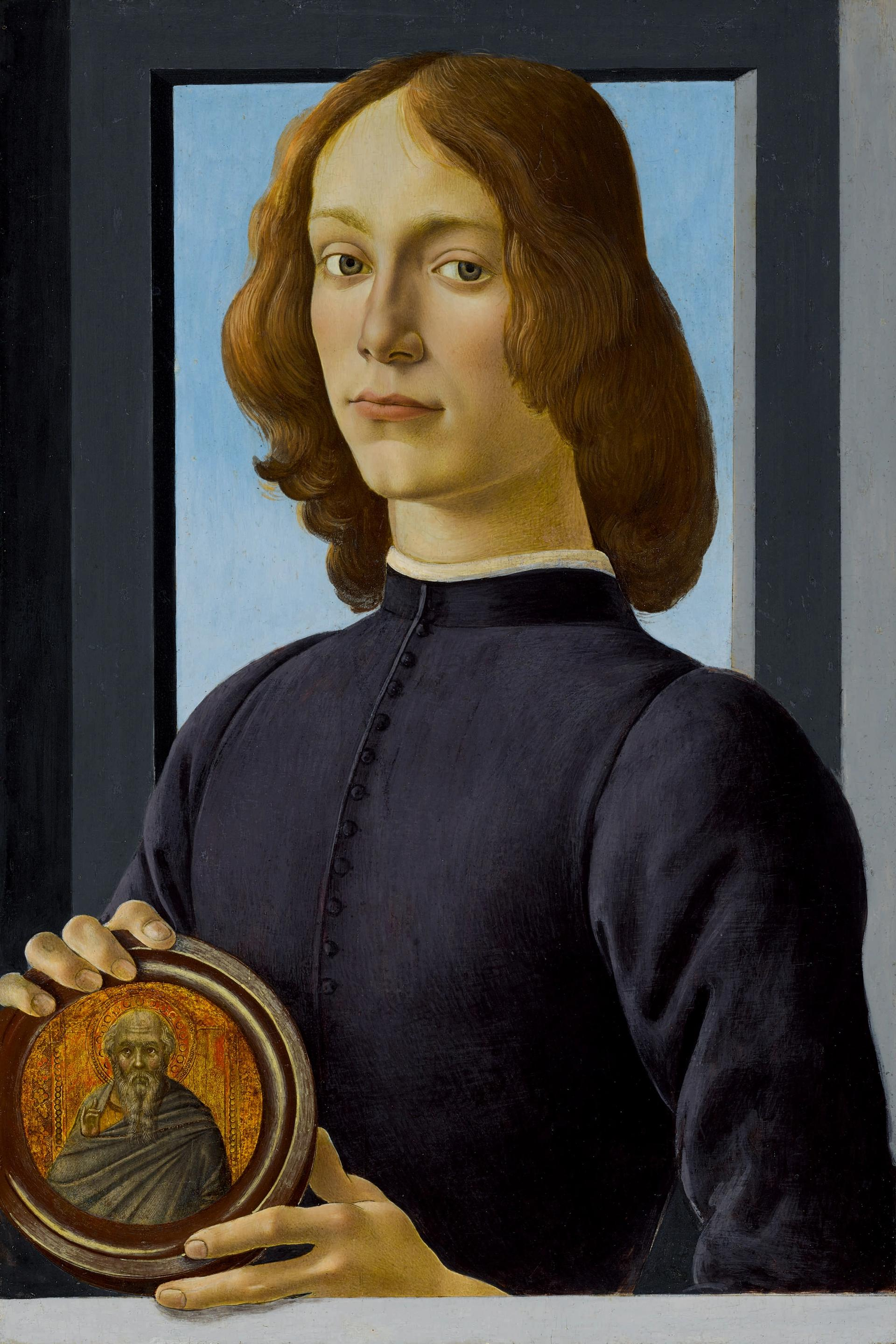 Sandro Botticelli's Young Man Holding a Roundel will be offered for $80m in January as the highlight of Sotheby's Masters Week series of sales in New York. Courtesy of Sotheby's
