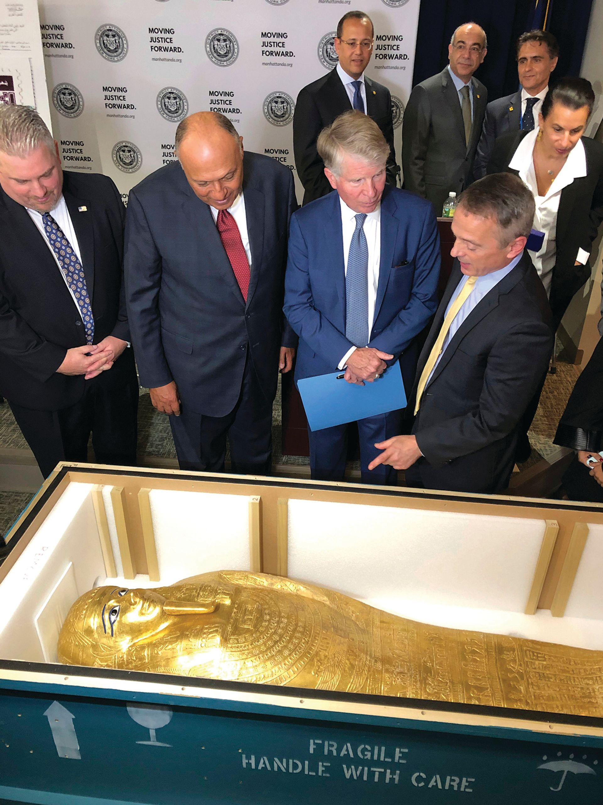 The looted sarcophagus at the Metropolitan Museum of Art being prepared for return to Egypt Michael R Sisak/AP/Shutterstock