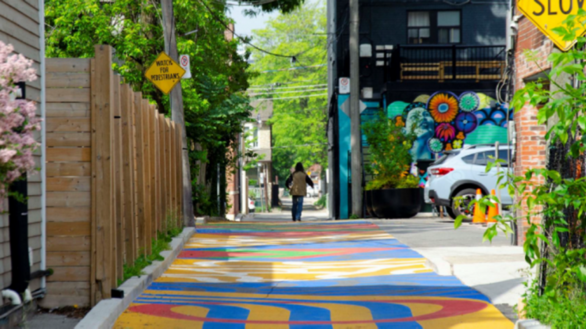 Healing Corridor and Playable Road Mural, by Monica Wickeler,Nyle Miigizi Johnston,and The Laneway Project