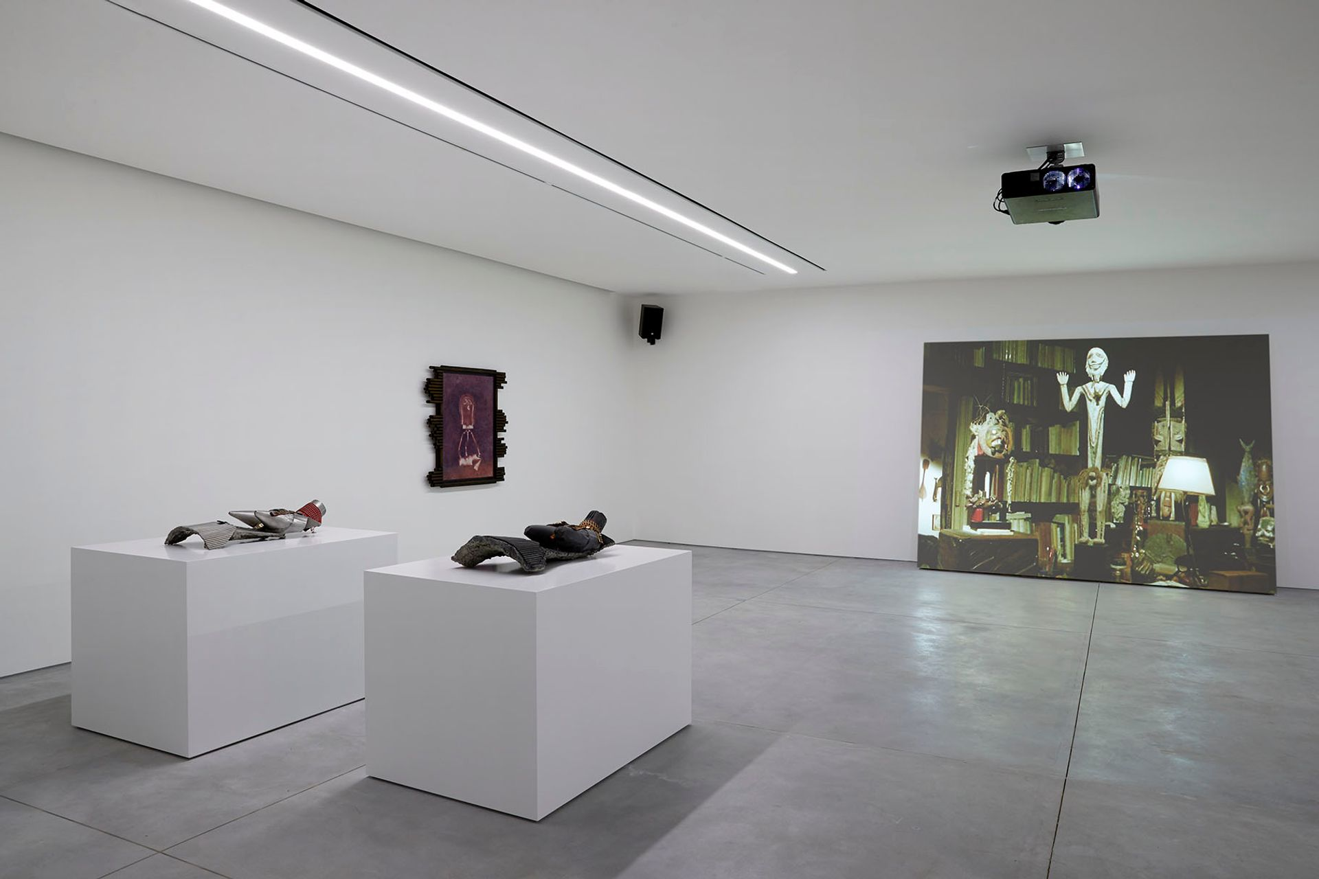 Installation view of Ed Atkins's The Trick Brain (2013) ©Aïshti Foundation. Photo: Guillaume Ziccarelli
