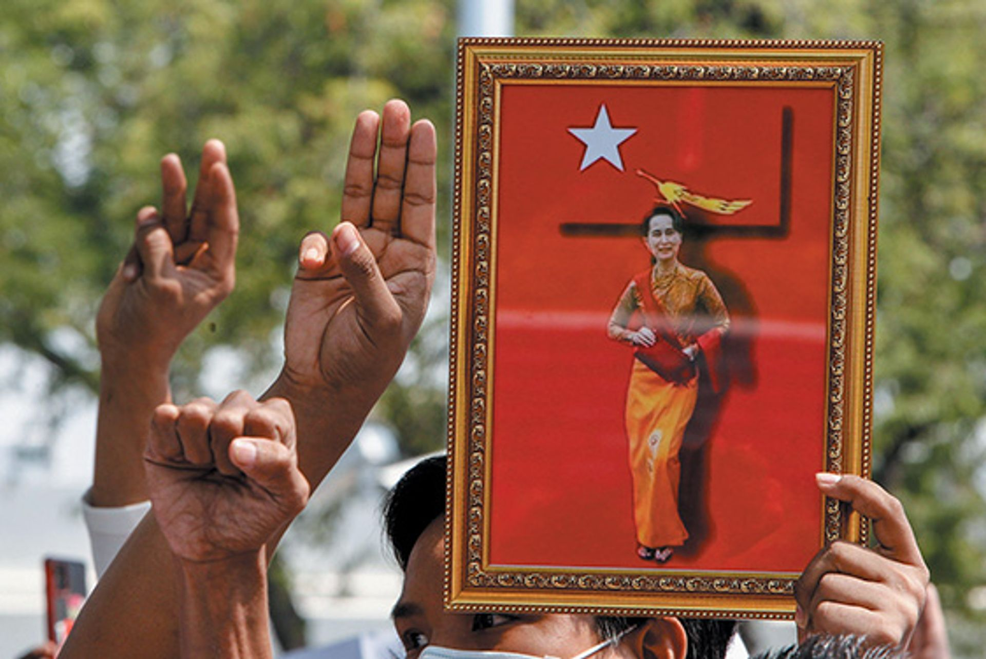 Supporters of Aung San Suu Kyi, leader of the National League for Democracy party, call for her release from Myanmar's military Alamy stock photo