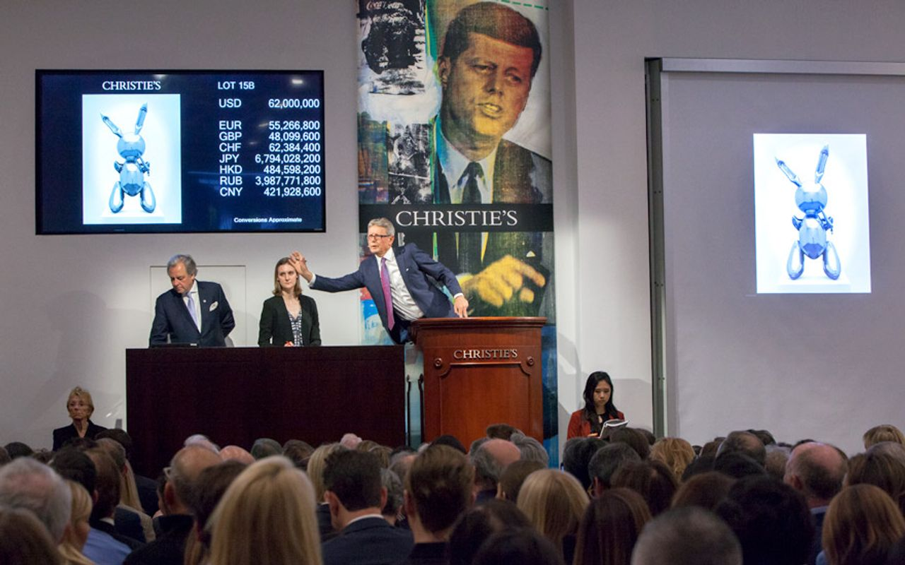 """Last year during the New York """"giga-week"""" sales, Christie's sold Jeff Koons's Rabbit (1986) for $91m, the highest price ever paid at auction for a work by a living artist Courtesy of Christie's"""