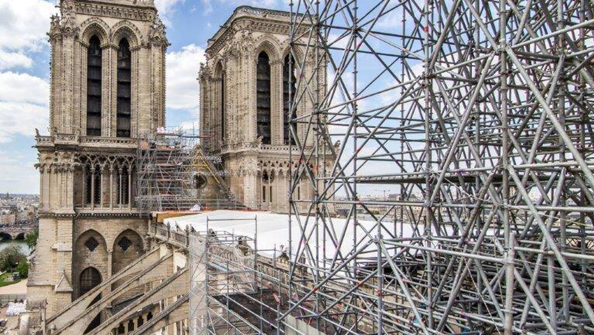 The scaffolding around the Notre Dame cathedral in Paris was erected before the fire in order to carry out restoration work Photo: Edouard Bierry / Ministère de la Culture