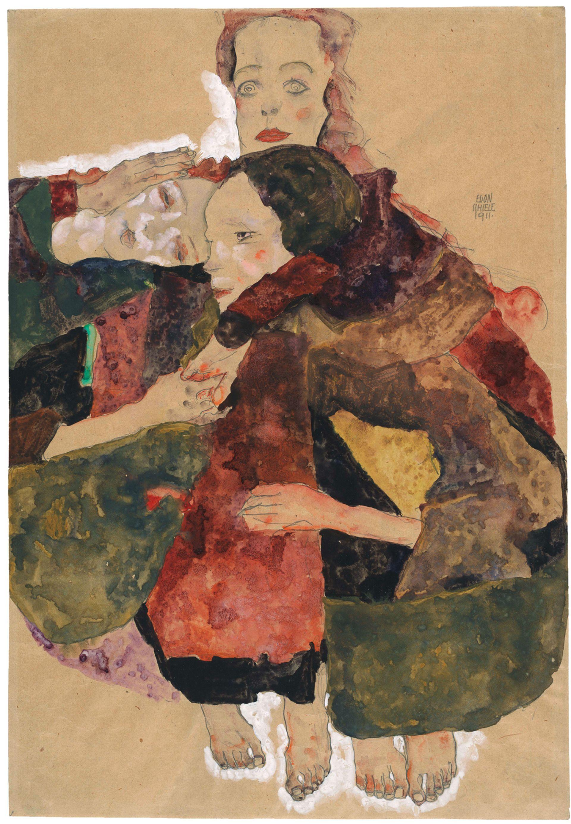 Egon Schiele's Group of Three Girls (1911) © The Albertina Museum, Vienna