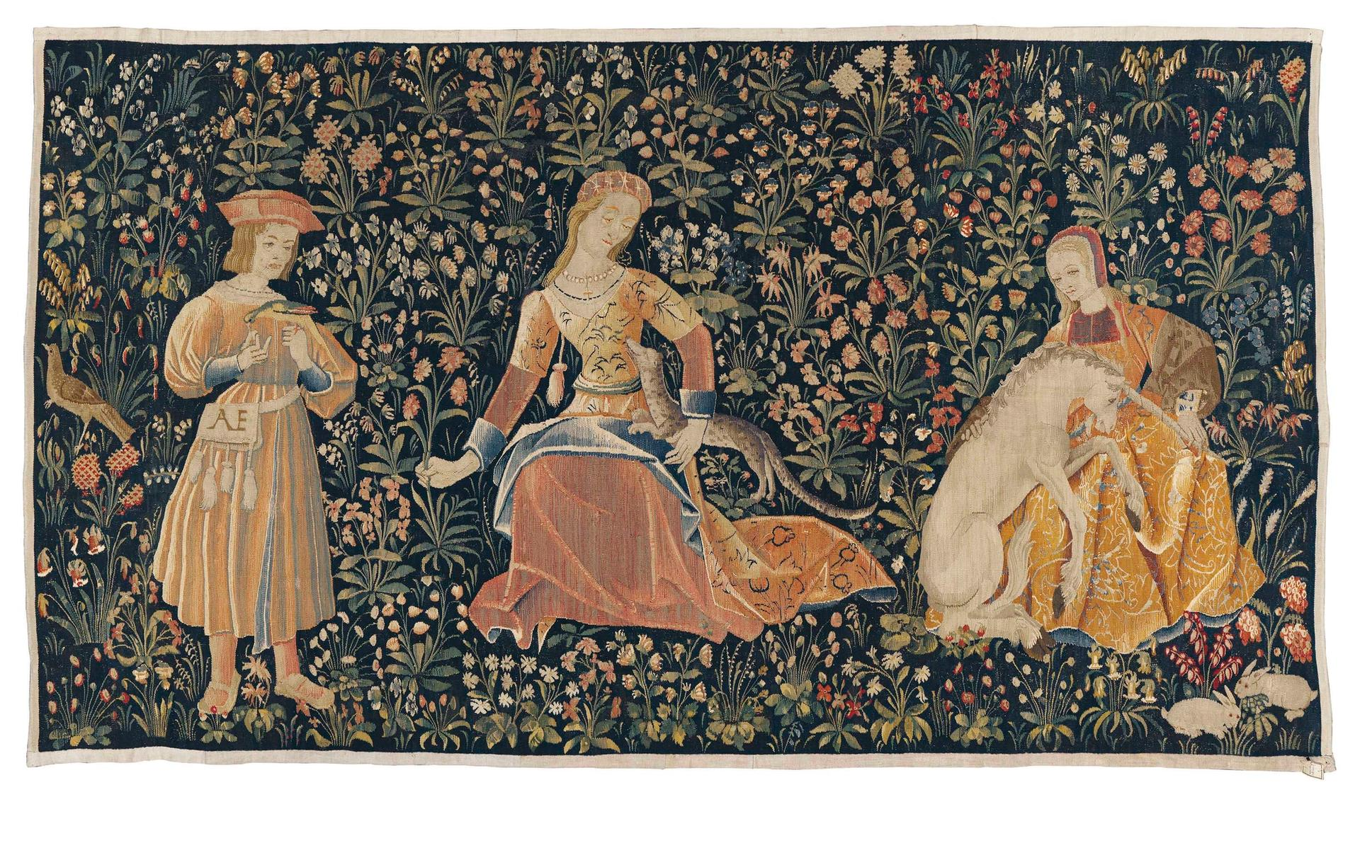 A mille-fleurs tapestry of The Lady and the Unicorn (around 1500) was the top lot of the sale © Christie's