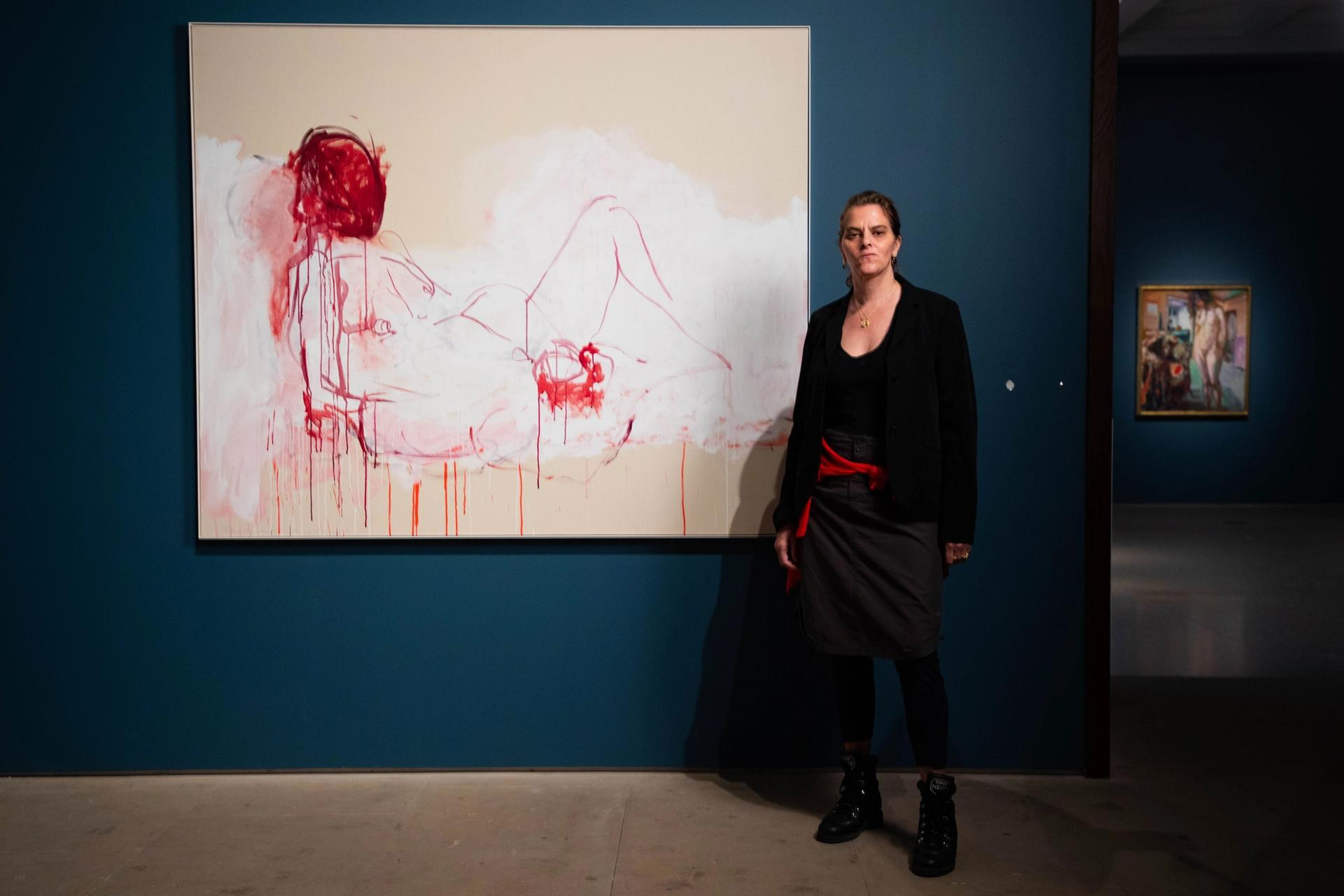 Tracey Emin in front of This is life without you - You made me Feel Like This (2018), on display at the Royal Academy of Arts, London, 7 December 2020-28 February 2021 Loan courtesy of Collection Majudia © Tracey Emin. All rights reserved, DACS 2020. Photo: © David Parry