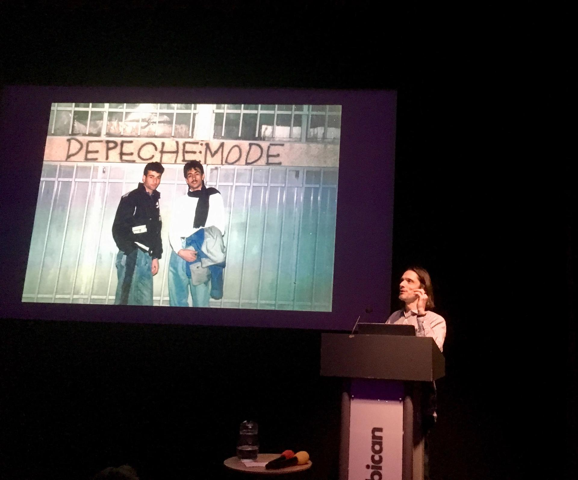 Jeremy Deller talking at the Barbican Louisa Buck