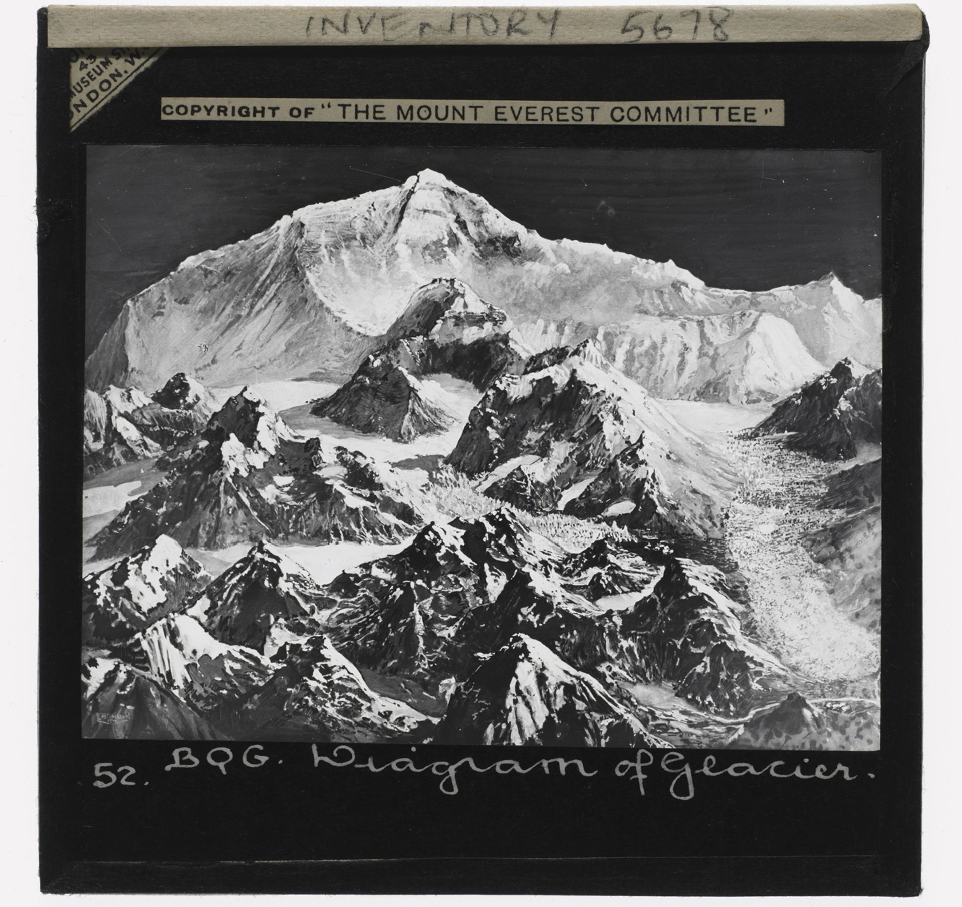 A magic-lantern slide from a 1921 expedition to Mount Everest © The RPS Collection at the V&A
