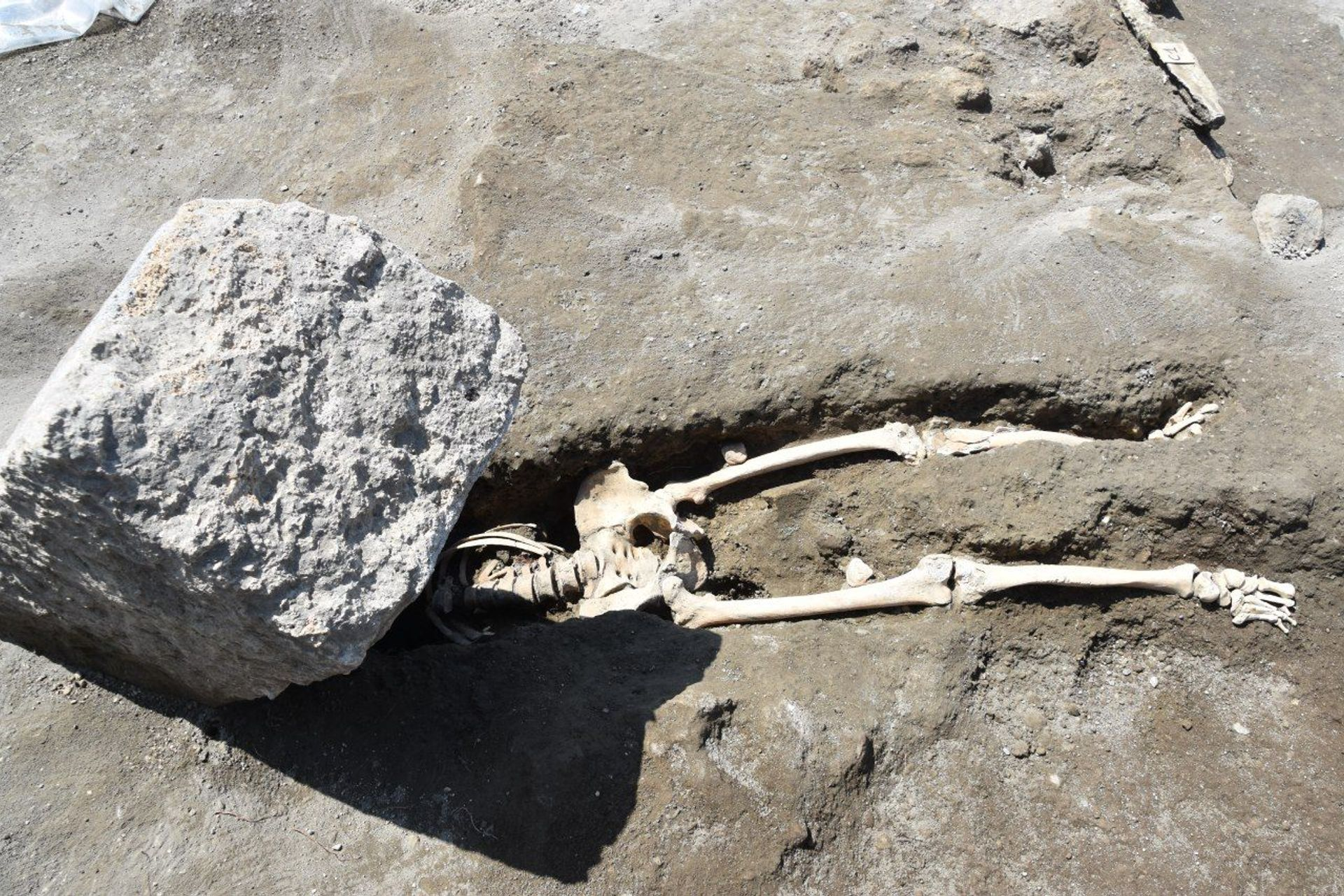 The first victim discovered at the site of the new Regio V excavations Pompeii - Parco Archeologico
