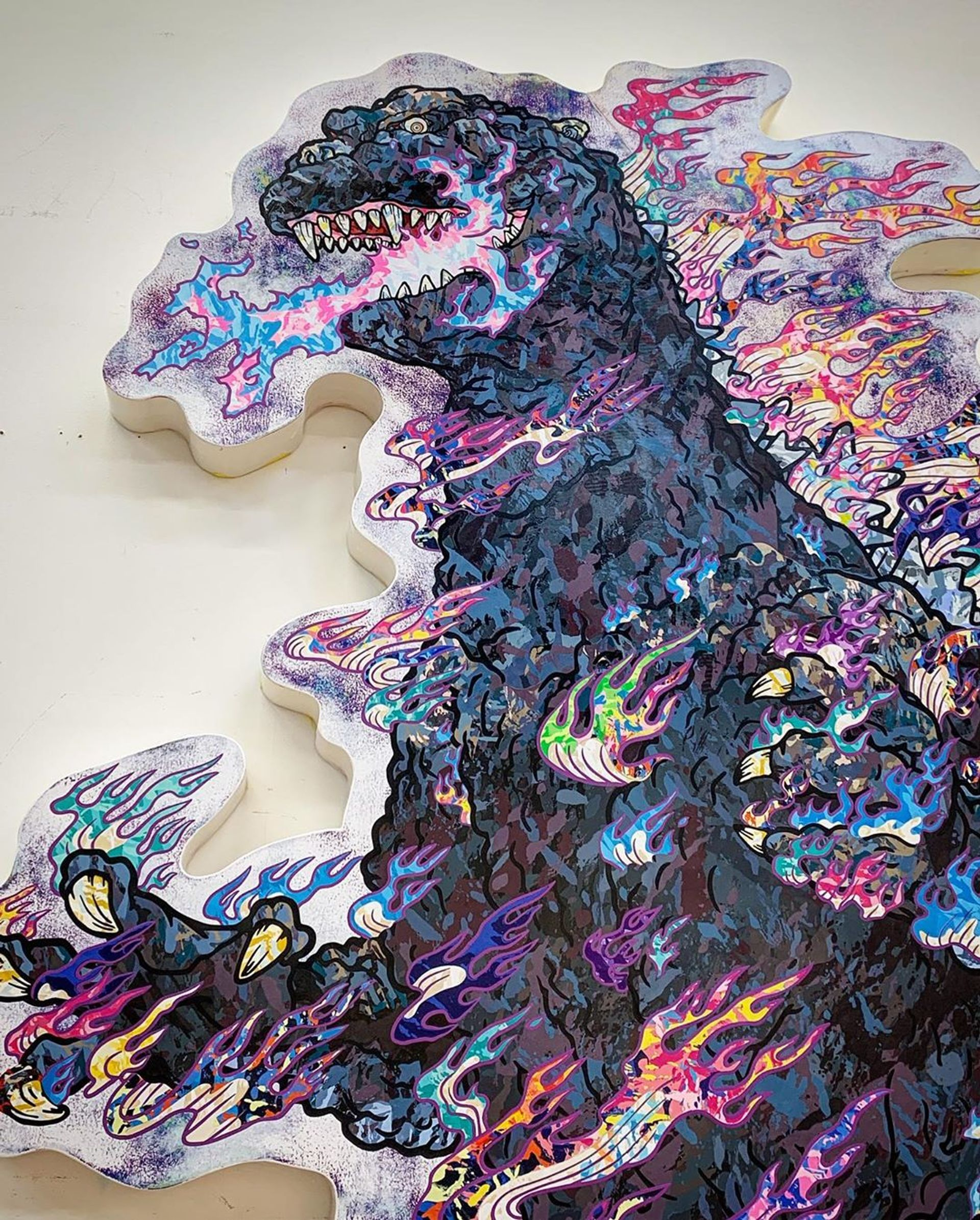 Murakami's portrait of Godzilla wreathed in flames © Takashi Murakami
