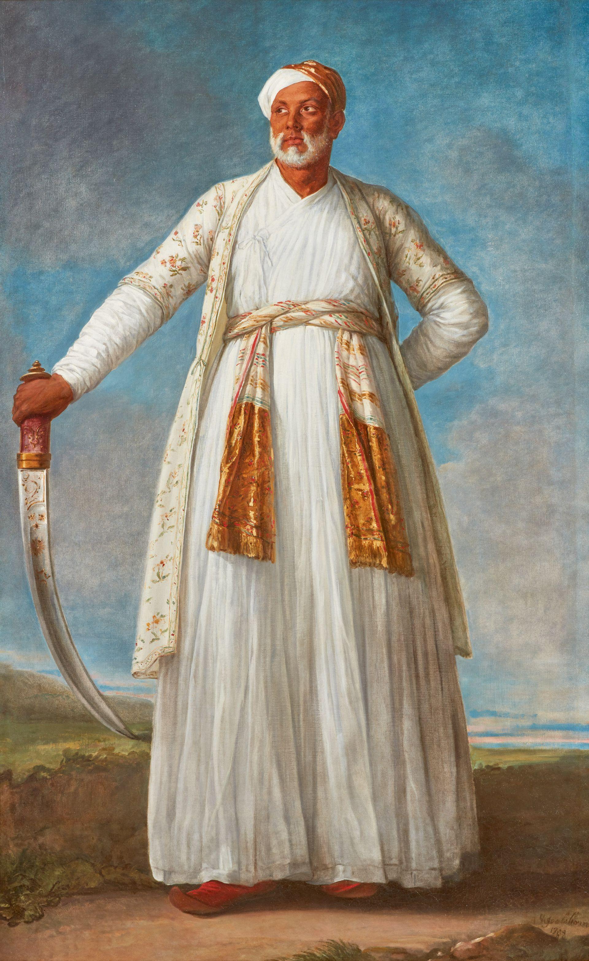 Elisabeth-Louise Vigée Le Brun, Portrait Of Muhammad Dervish Khan, Full-Length, Holding His Sword In A Landscape (1788). Sotheby's